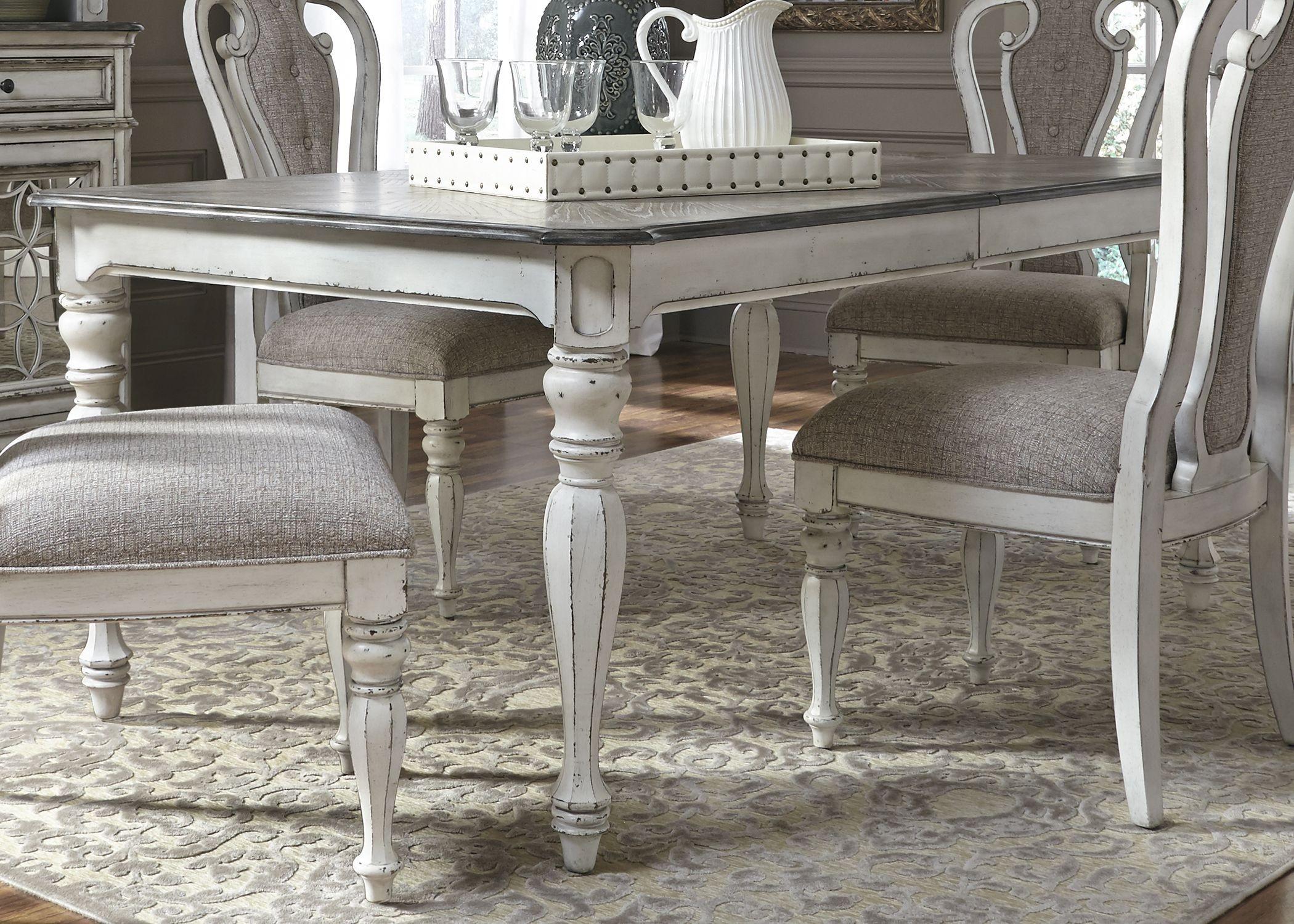 manor antique white extendable rectangular leg dining room set