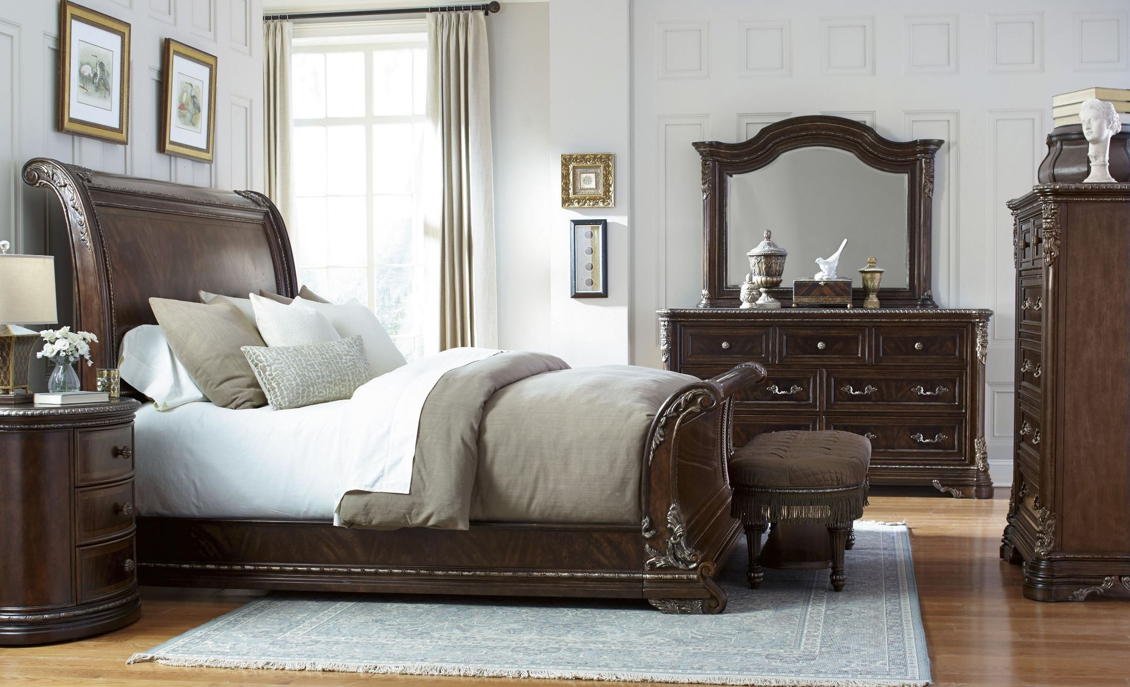 Gables Cal King Sleigh Bed From Art 245127 1707 Coleman Furniture