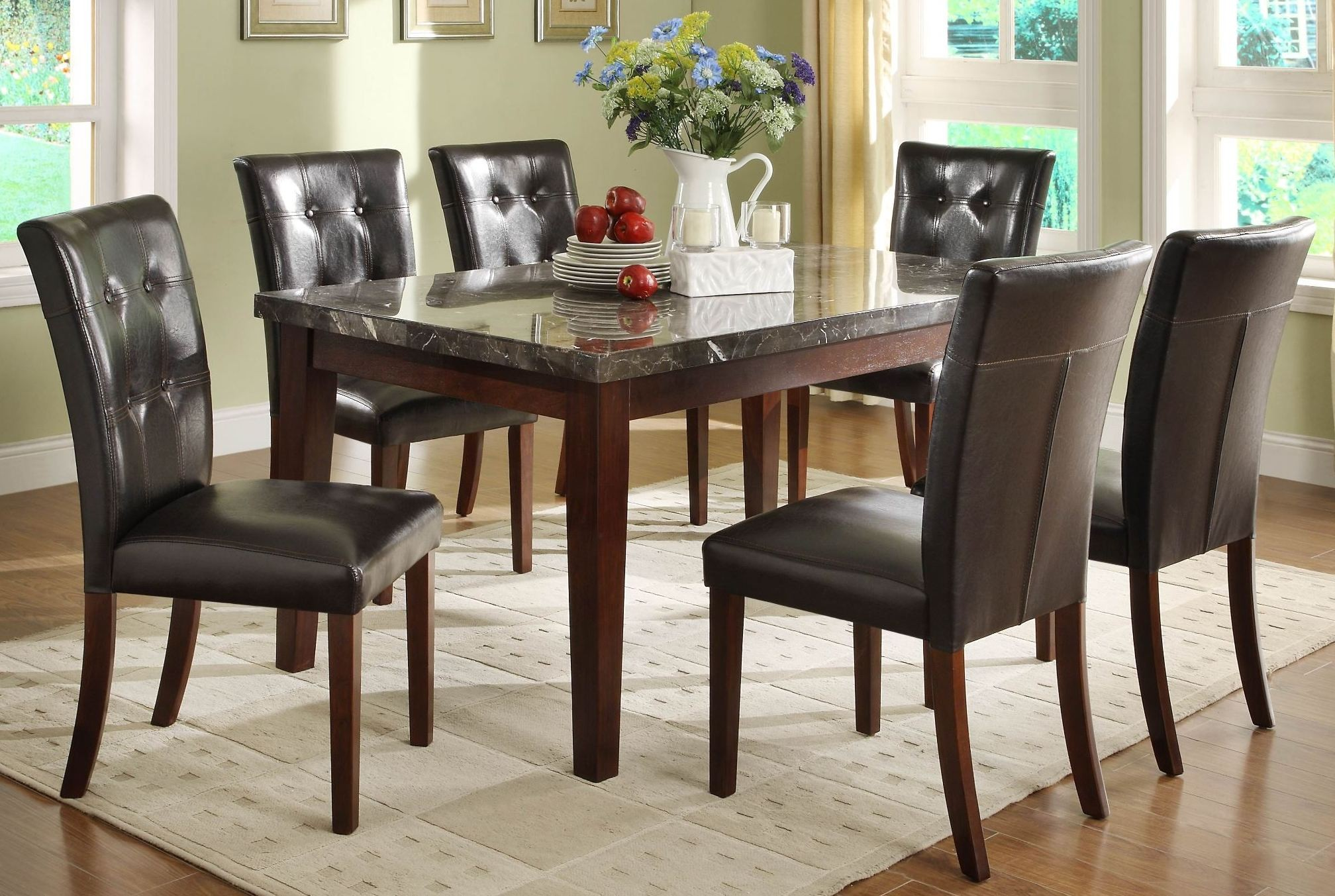 decatur espresso marble top dining room set from