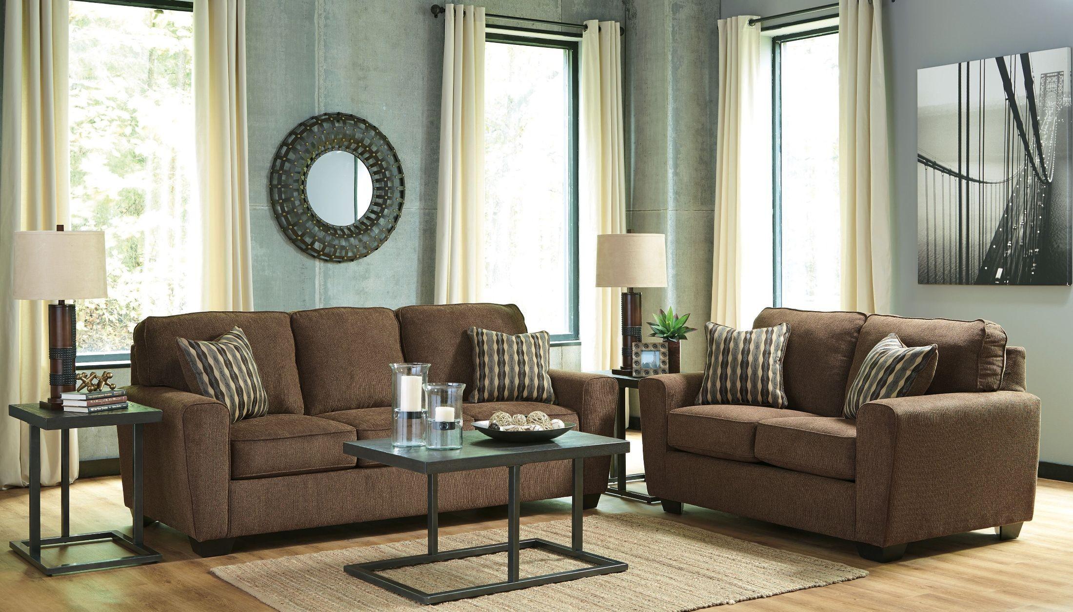 Landoff walnut living room set 2460438 ashley for Walnut furniture living room