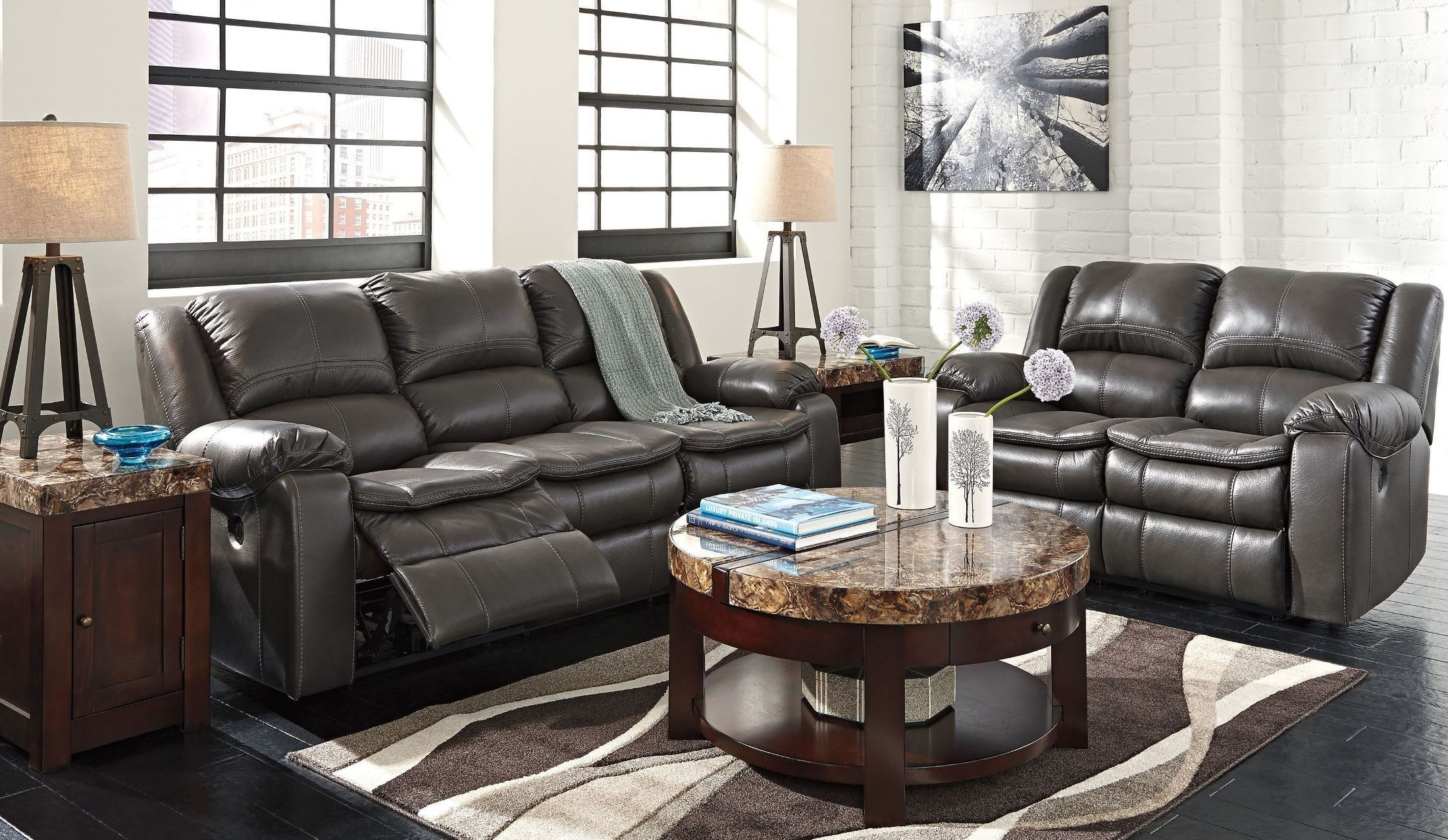 Long Knight Gray Reclining Living Room Set From Ashley
