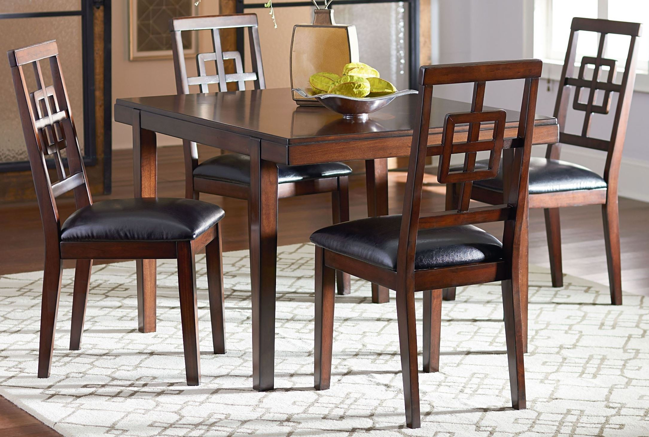 Ally golden brown cherry dining room set 13262 standard for Cherry dining room set