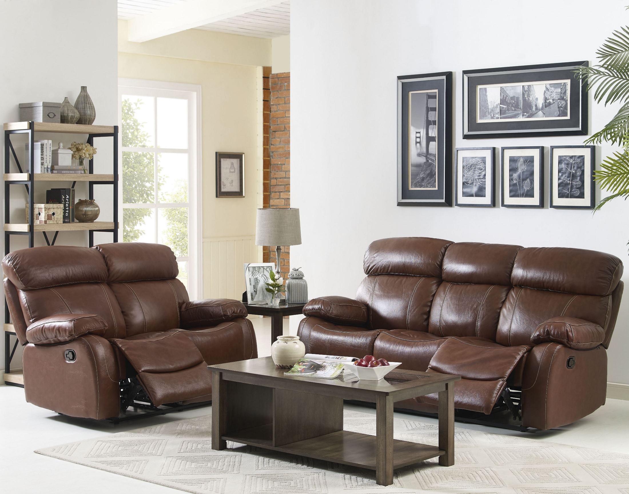 Dante light brown reclining living room set l2041 30 lbn for Light brown living room