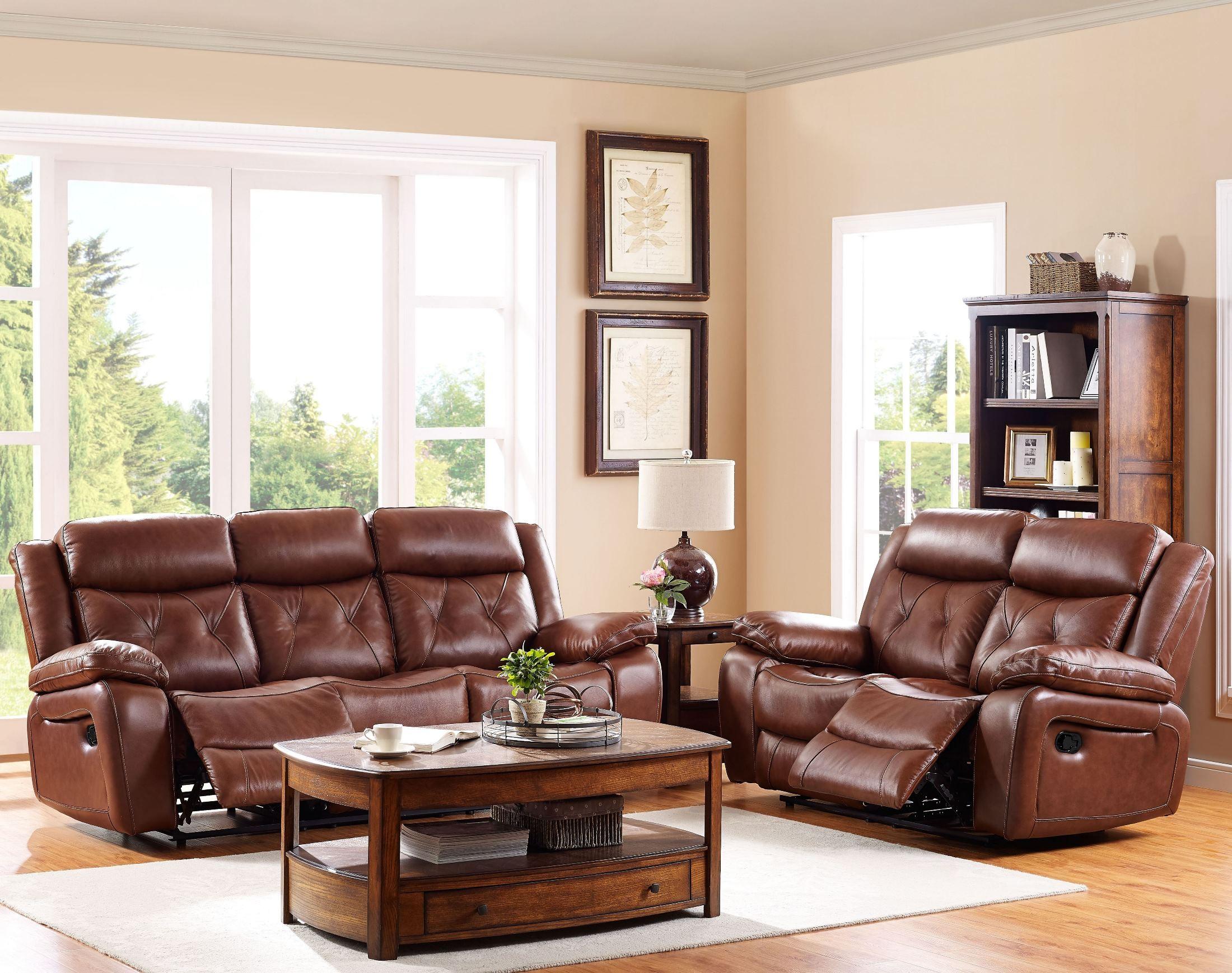 Benedict light brown power reclining living room set for Light brown living room