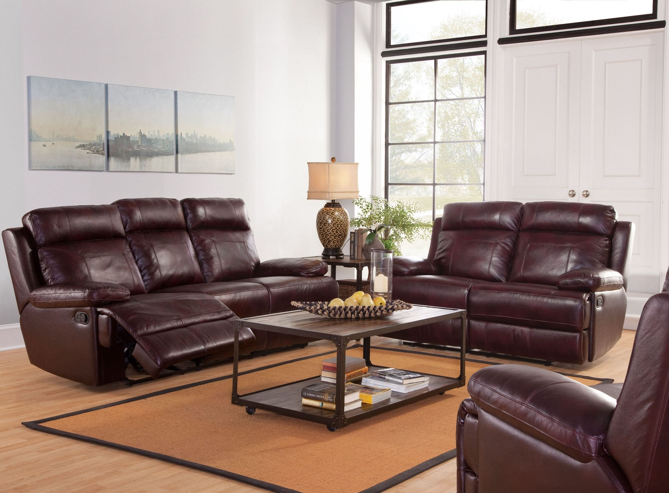 Mansfield Burgundy Power Reclining Living Room Set L6807