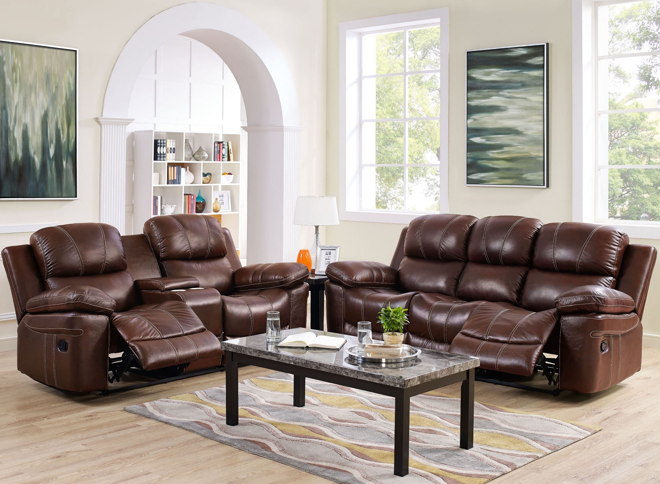 Legato Light Brown Power Reclining Living Room Set L8208 30P LBN New Classics