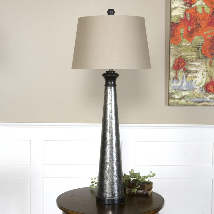 Mustapha distressed silver table lamp from uttermost for Distressed silver floor lamp