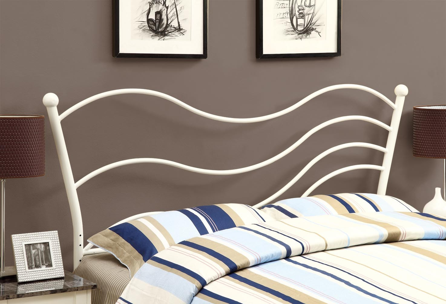 2655q white queen full size size metal headboard footboard from