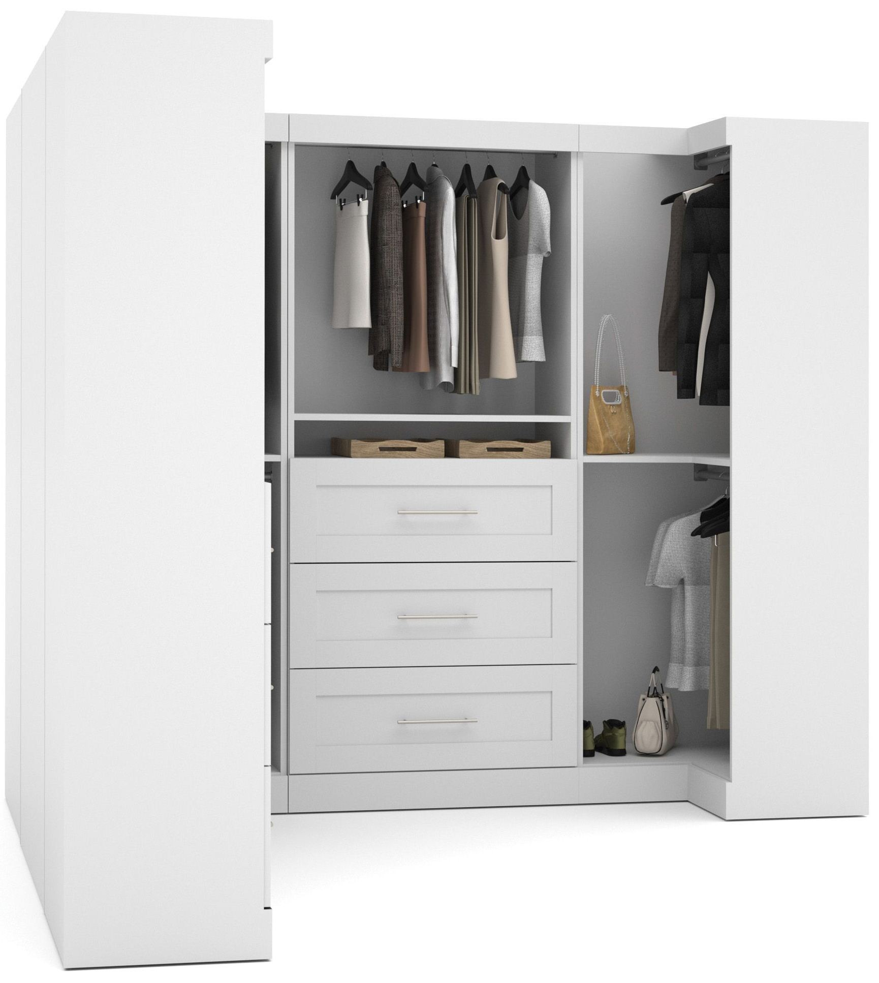 "L Shaped Wardrobes: Pure White 100"" Optimum L- Shaped Wardrobe From Bestar"