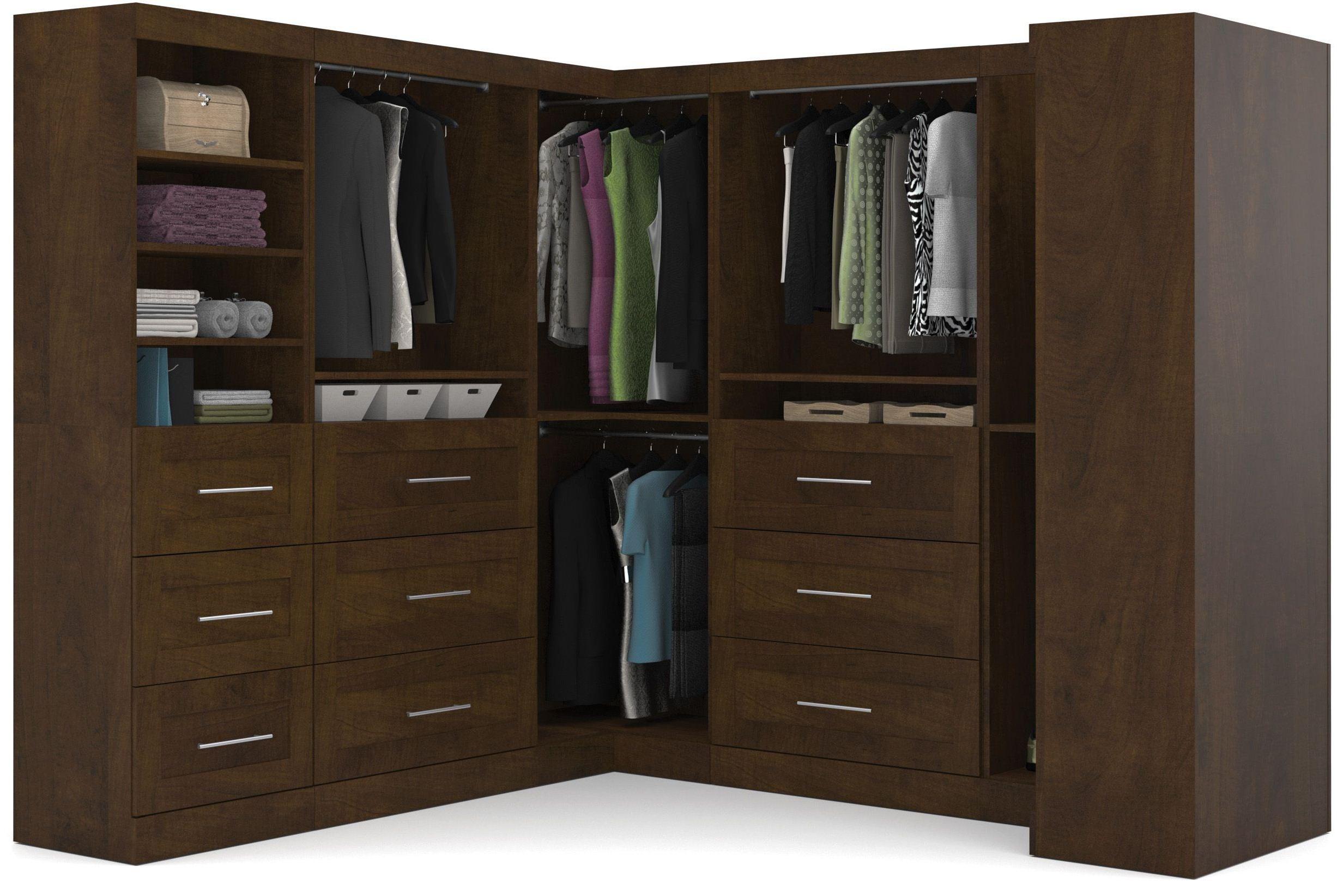 pur chocolate 100 optimum l shaped wardrobe from bestar. Black Bedroom Furniture Sets. Home Design Ideas