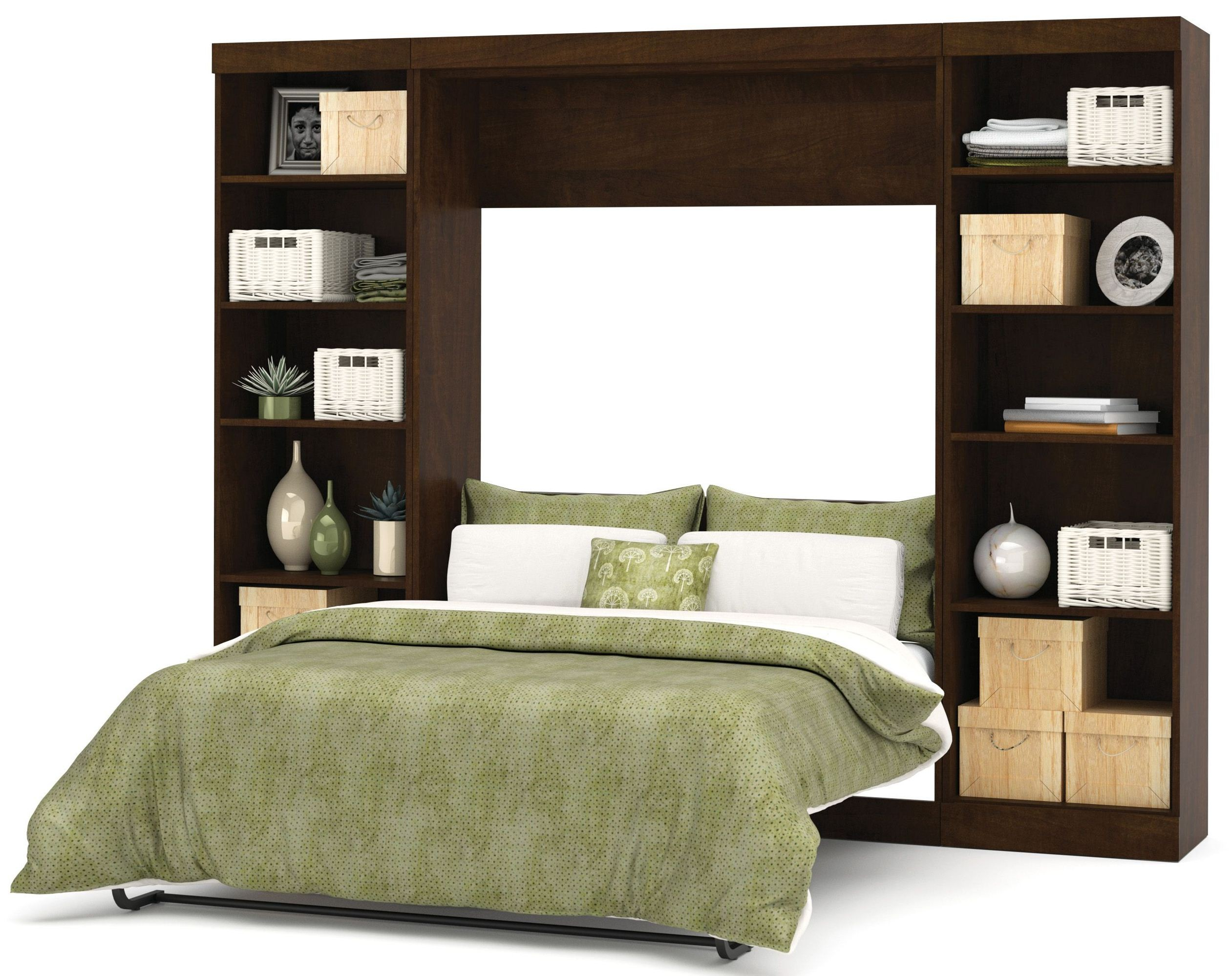 Pur Chocolate 109 Open Storage Full Wall Bed From Bestar 26893 69 Coleman Furniture