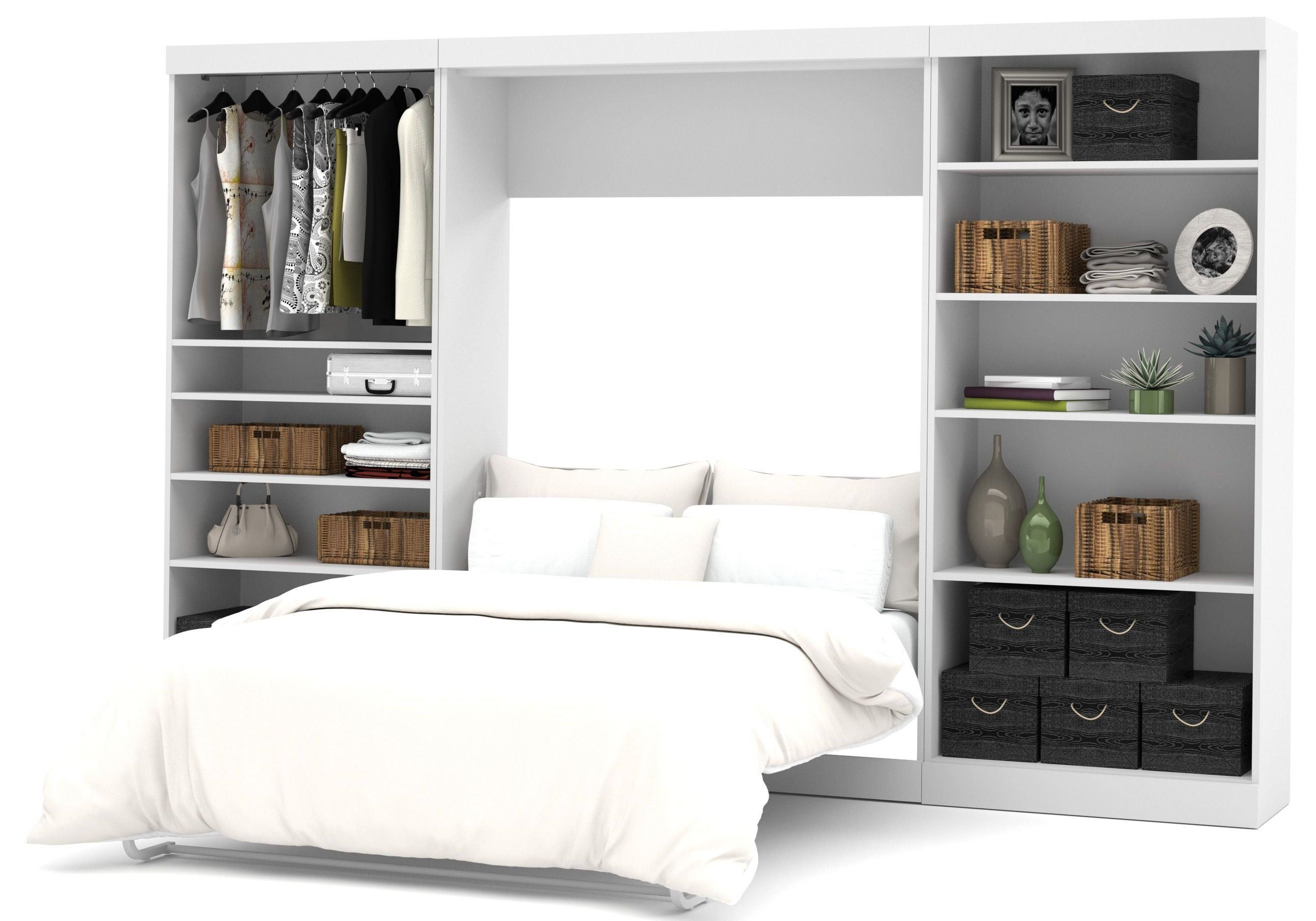 Pure White 131 Open Storage Full Wall Bed From Bestar 26895 17 Cole