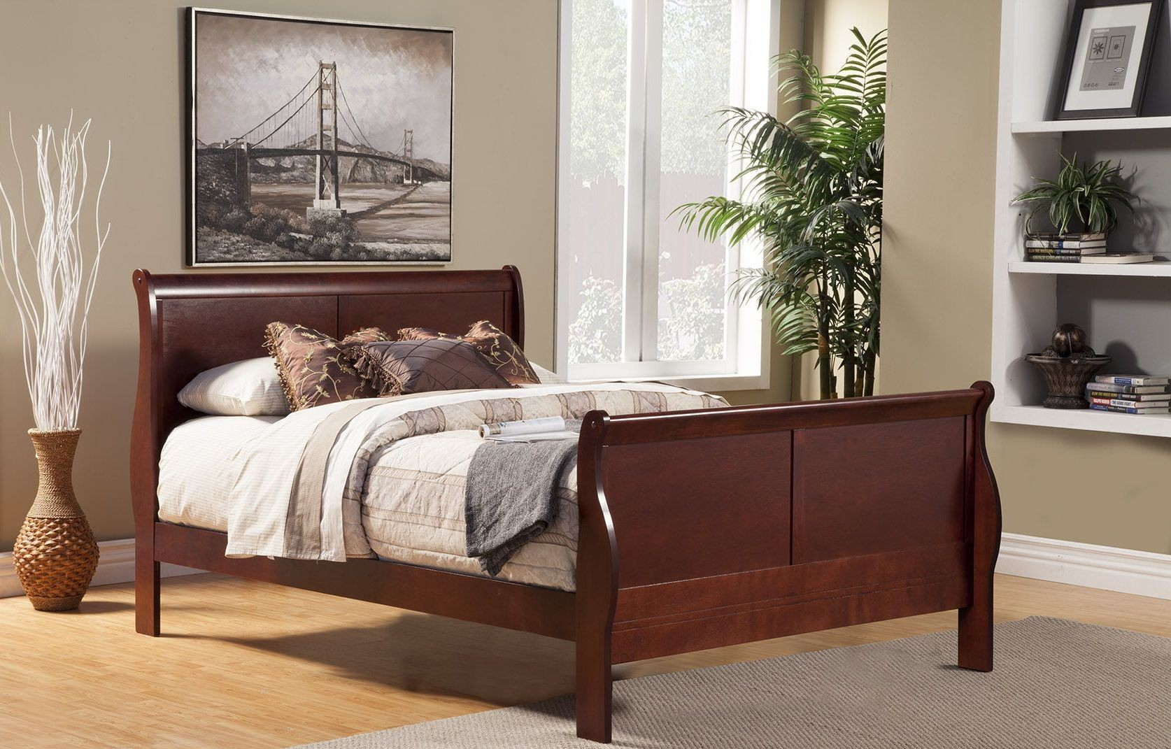 Louis Philippe Ii Cherry Sleigh Bedroom Set 2700q Alpine