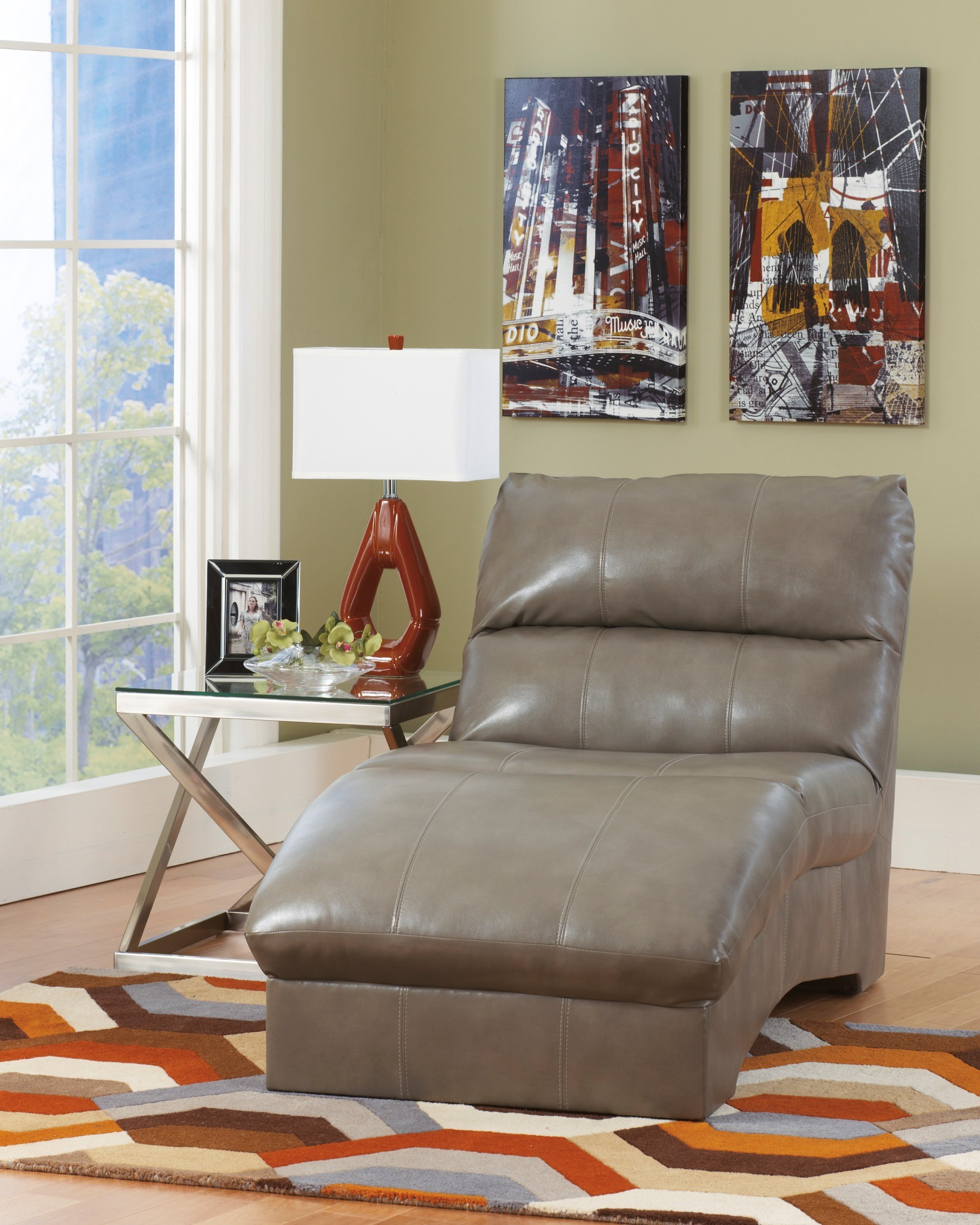 Paulie durablend quarry chaise from ashley 2700115 for Ashley durablend chaise