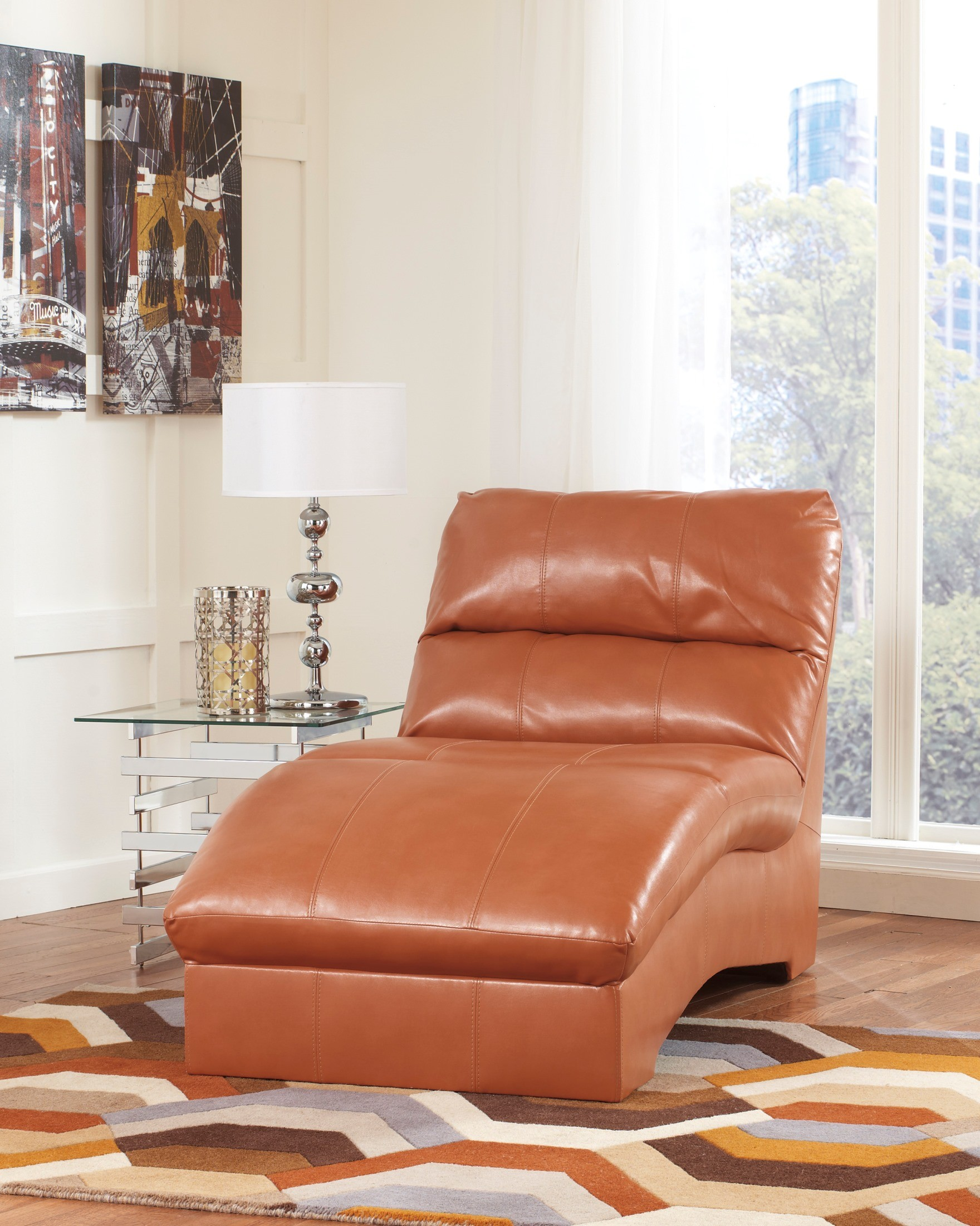 Paulie durablend orange chaise from ashley 2700215 for Ashley durablend chaise