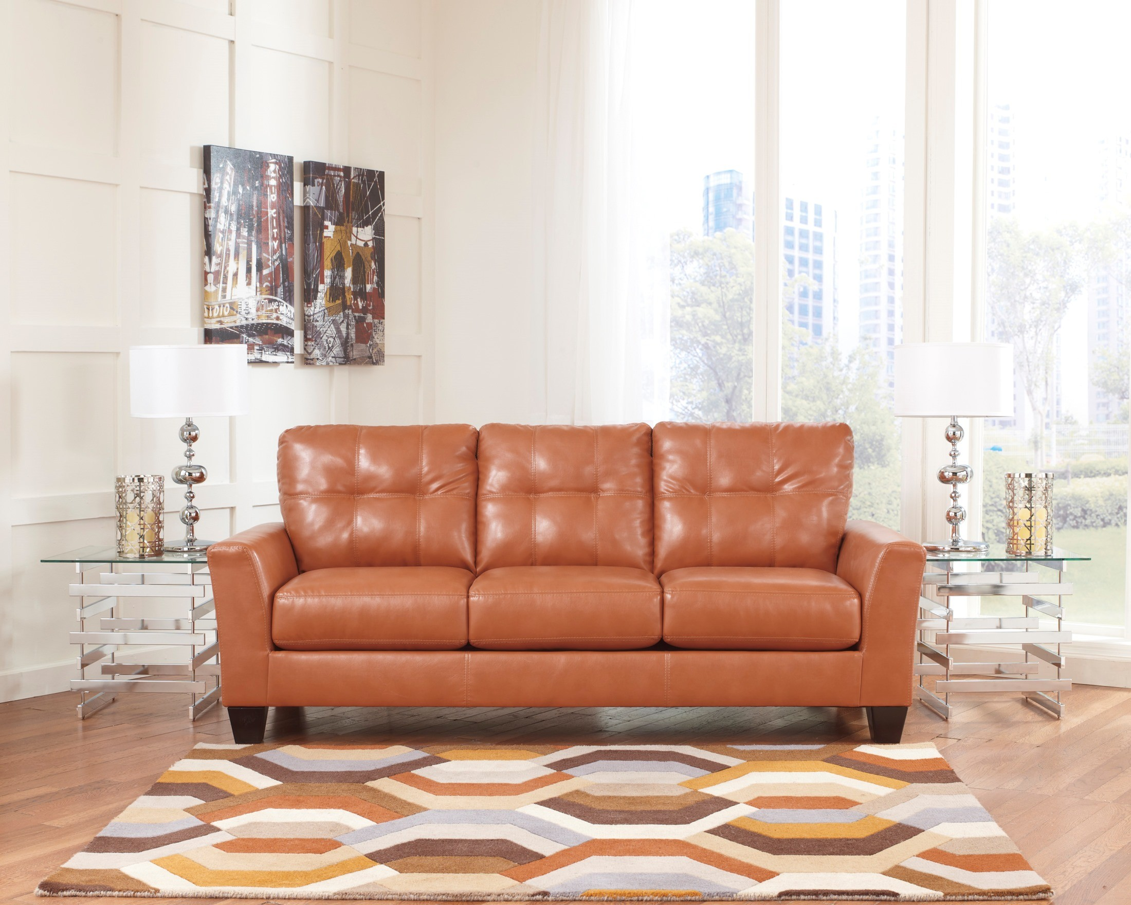 paulie durablend orange sofa from ashley 2700238. Black Bedroom Furniture Sets. Home Design Ideas