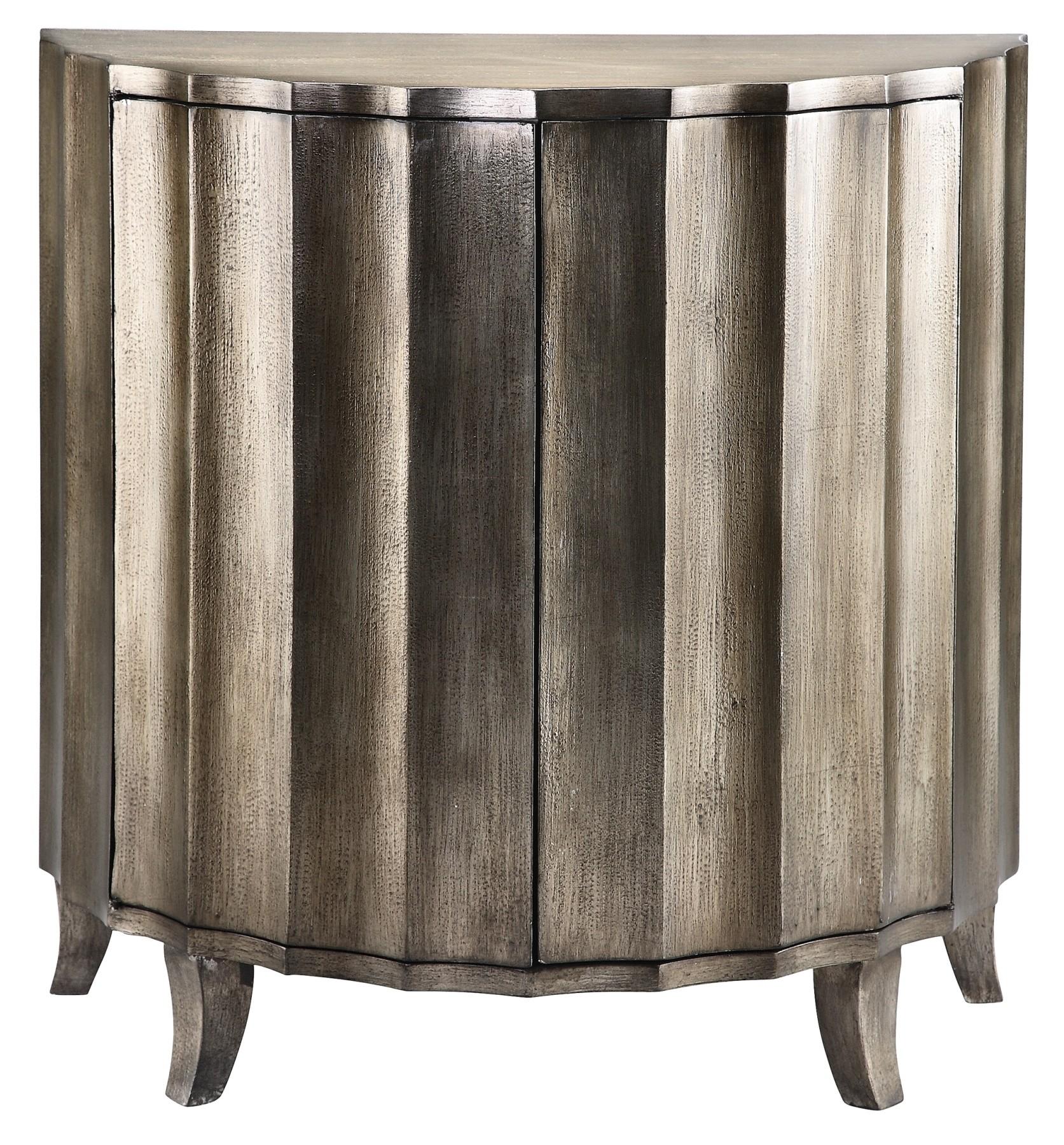 Metallic Finish Demilune Cabinet From Steinworld 28256 Coleman Furniture