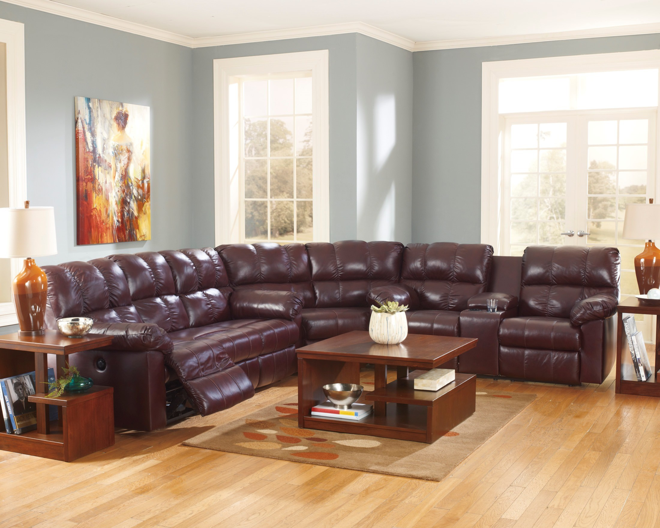 Leather Reclining Living Room Sets Kennard Burgundy Reclining Sectional From Ashley 29000 88 94 77