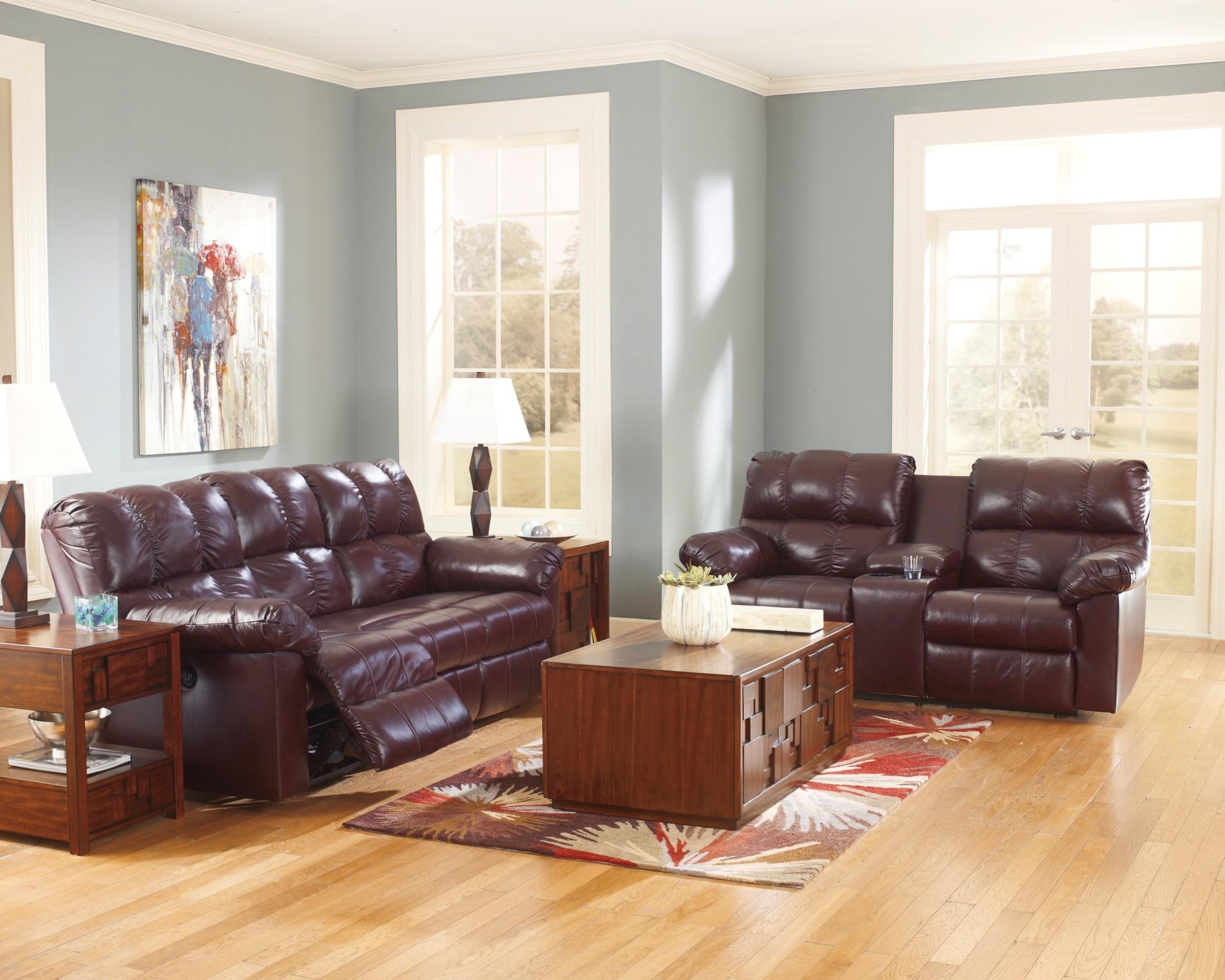 Kennard burgundy reclining living room set from ashley for Living room 94
