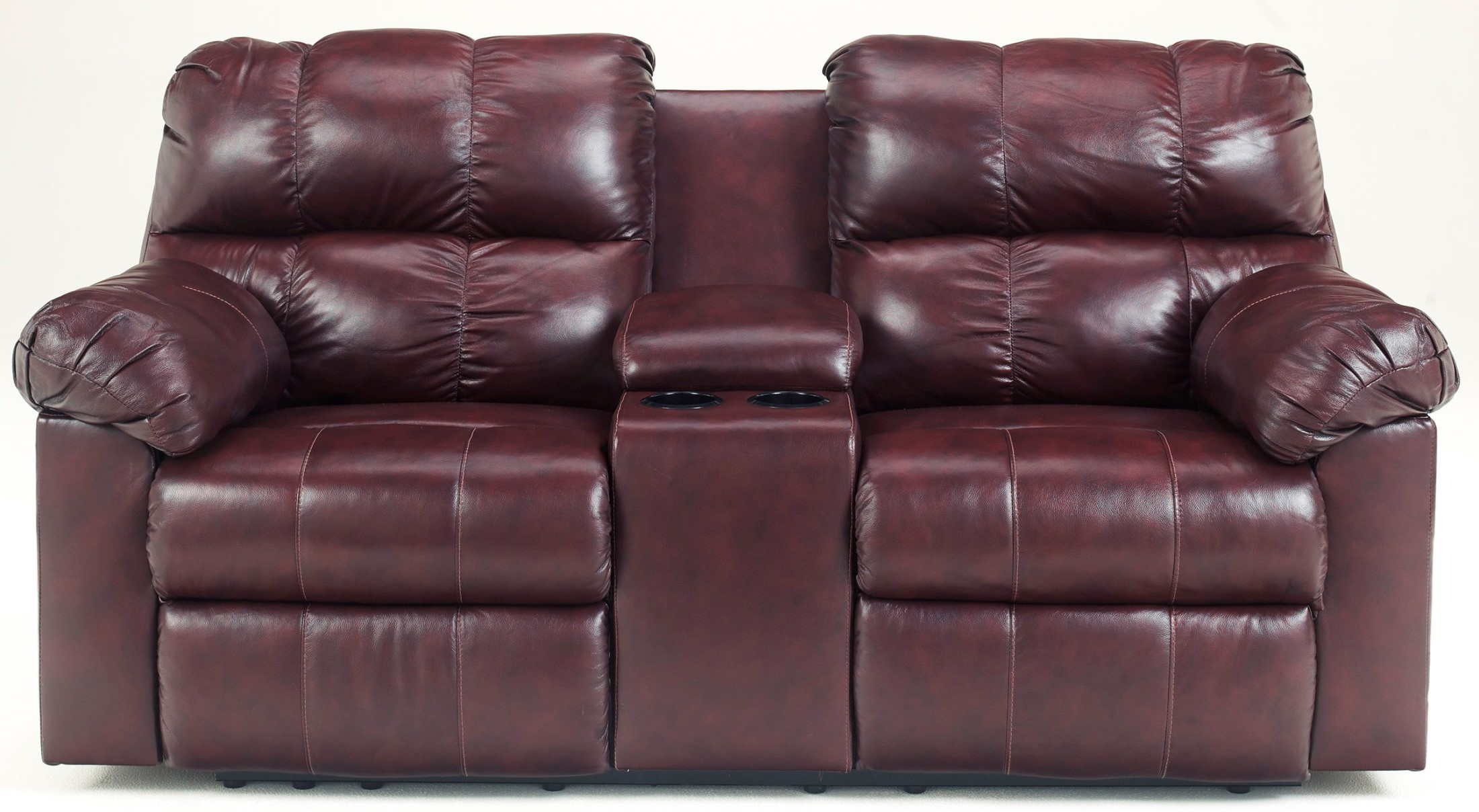 Kennard Burgundy Double Power Reclining Loveseat With