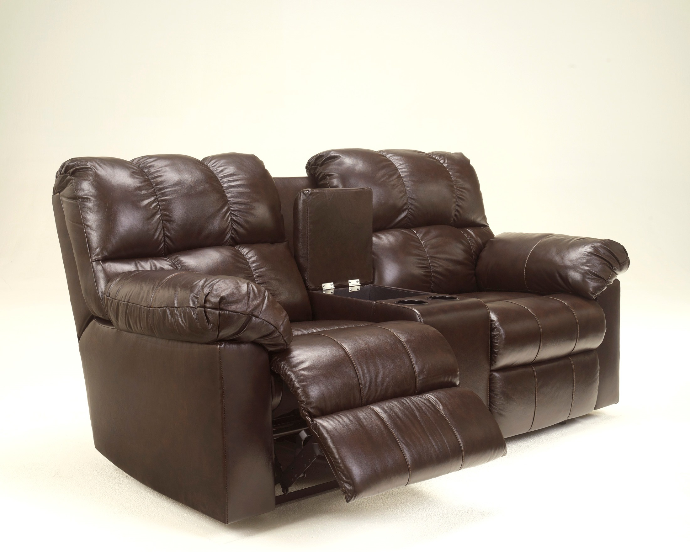 Kennard Chocolate Double Power Reclining Loveseat With Console From Ashley 2900196 Coleman