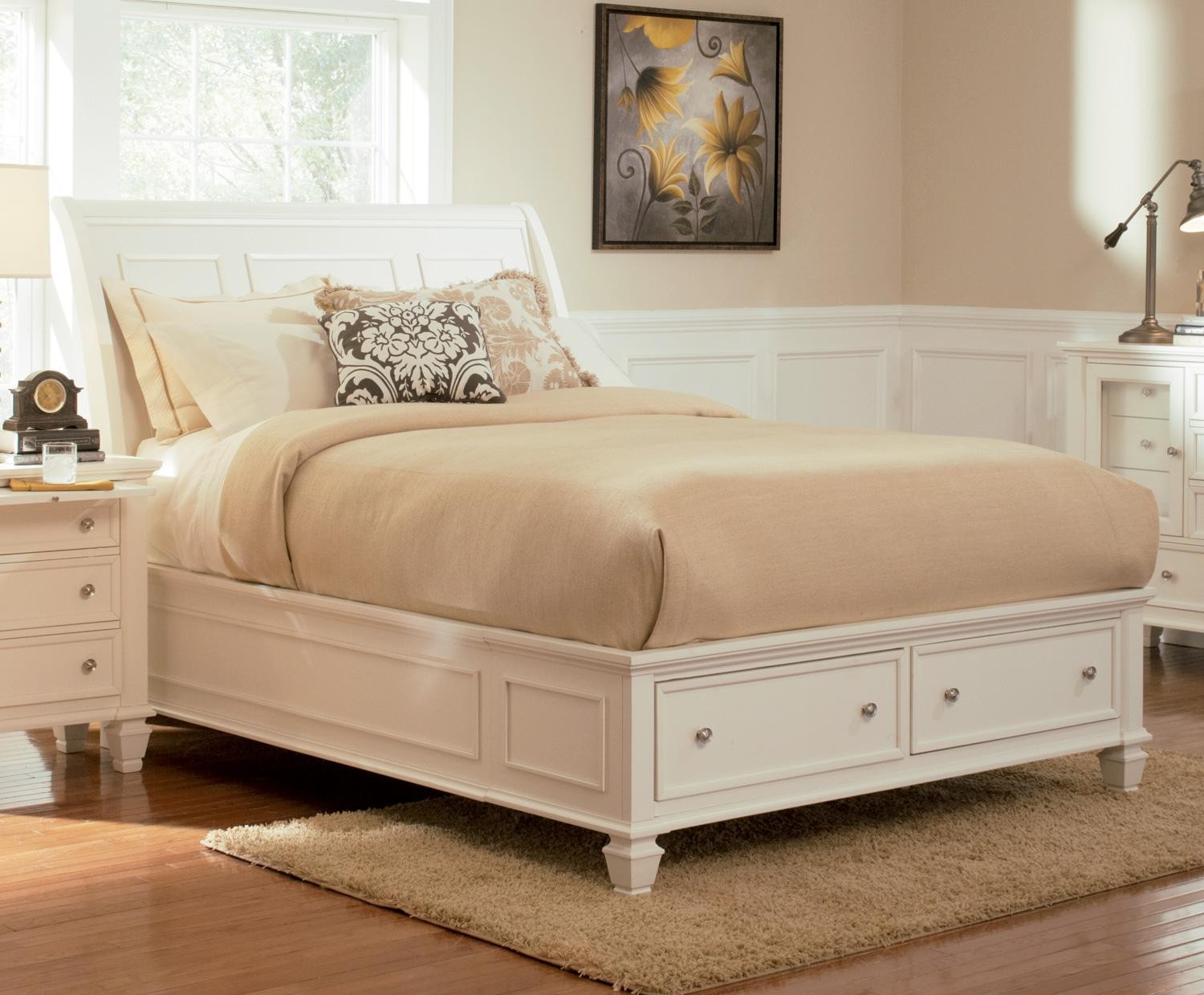 sandy beach white sleigh storage bedroom set 201309 from coaster