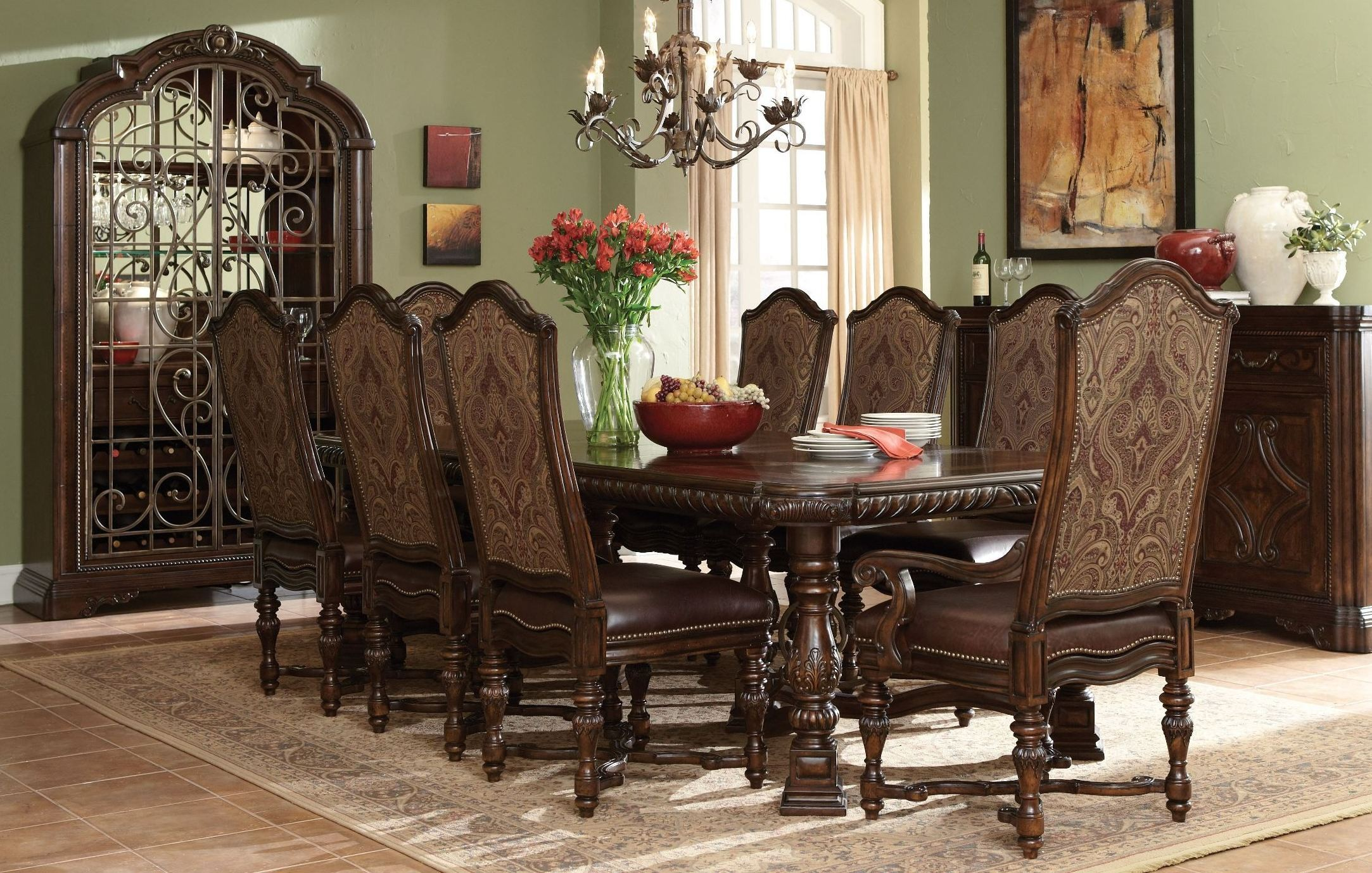 Valencia Trestle Extendable Dining Room Set From ART 209221 2304 Coleman