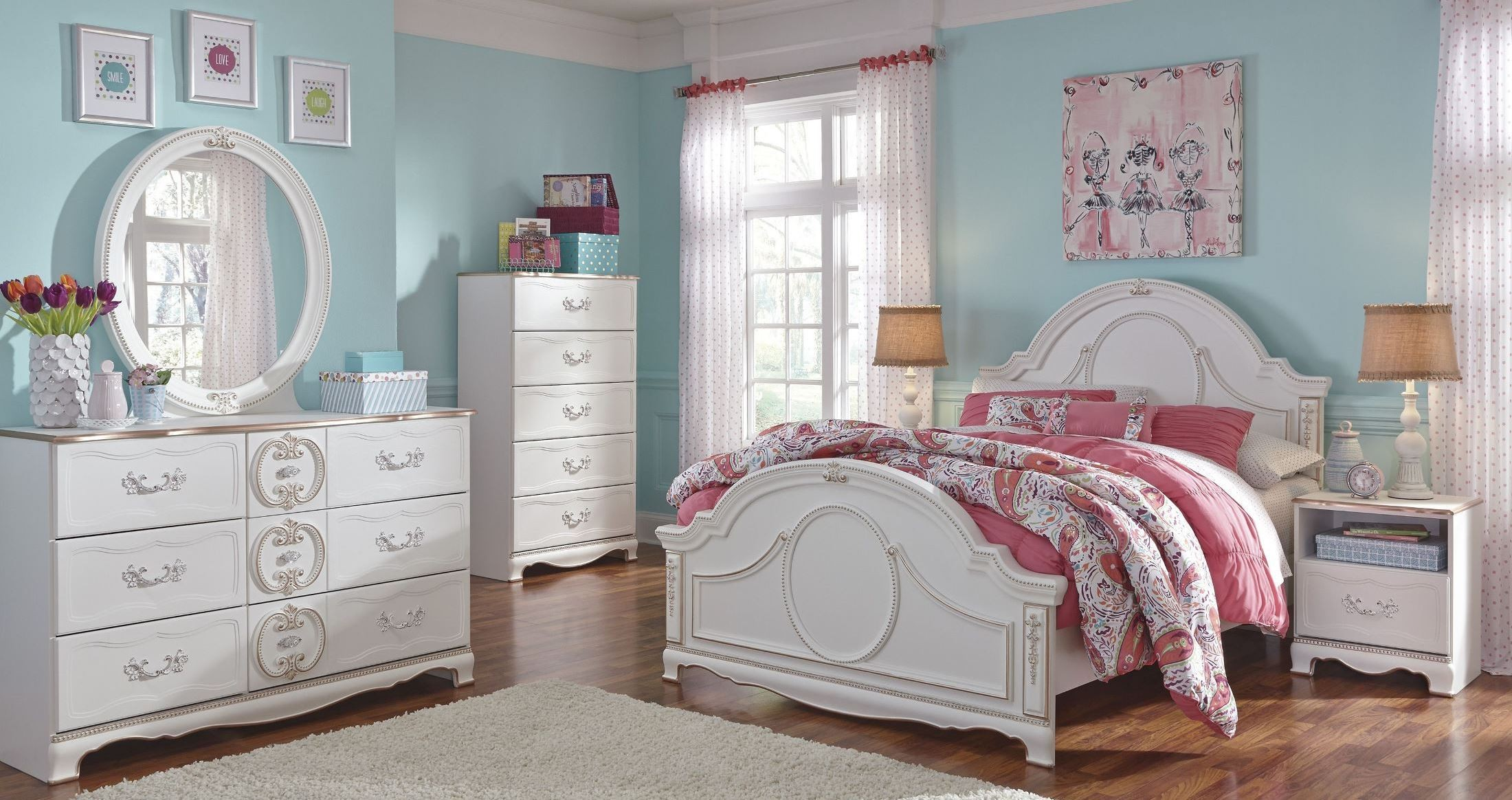 Korabella white youth panel bedroom set from ashley b355 for White full bedroom set