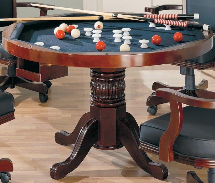 Gaming 3 in 1 cherry poker bumper pool dining table 100201 for Oak beauty pool table