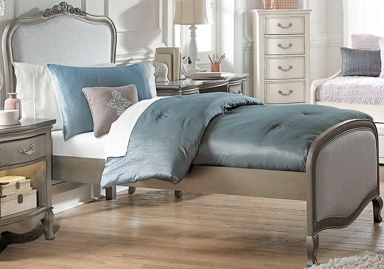 Kensington Antique Silver Katherine Upholstered Youth Panel Bedroom Set 30020n Ne Kids