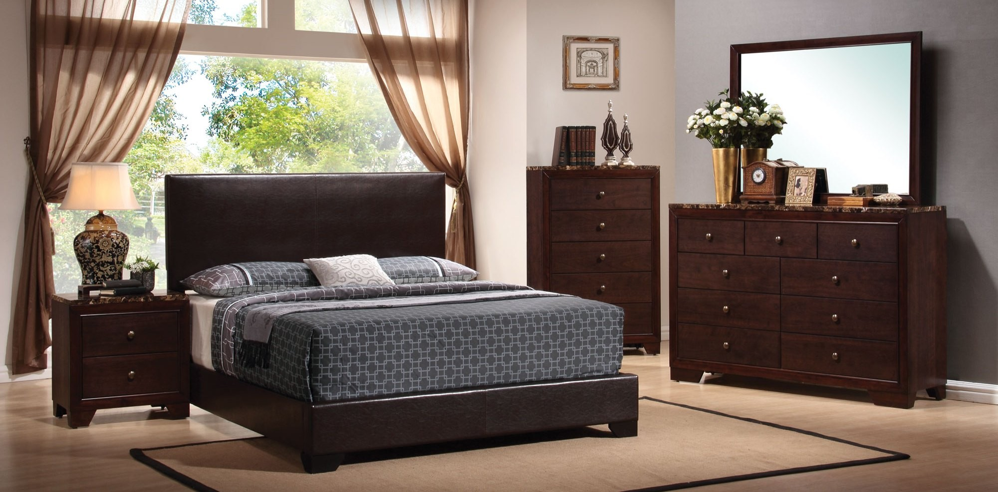 conner dark brown low profile bedroom set from coaster 300261q