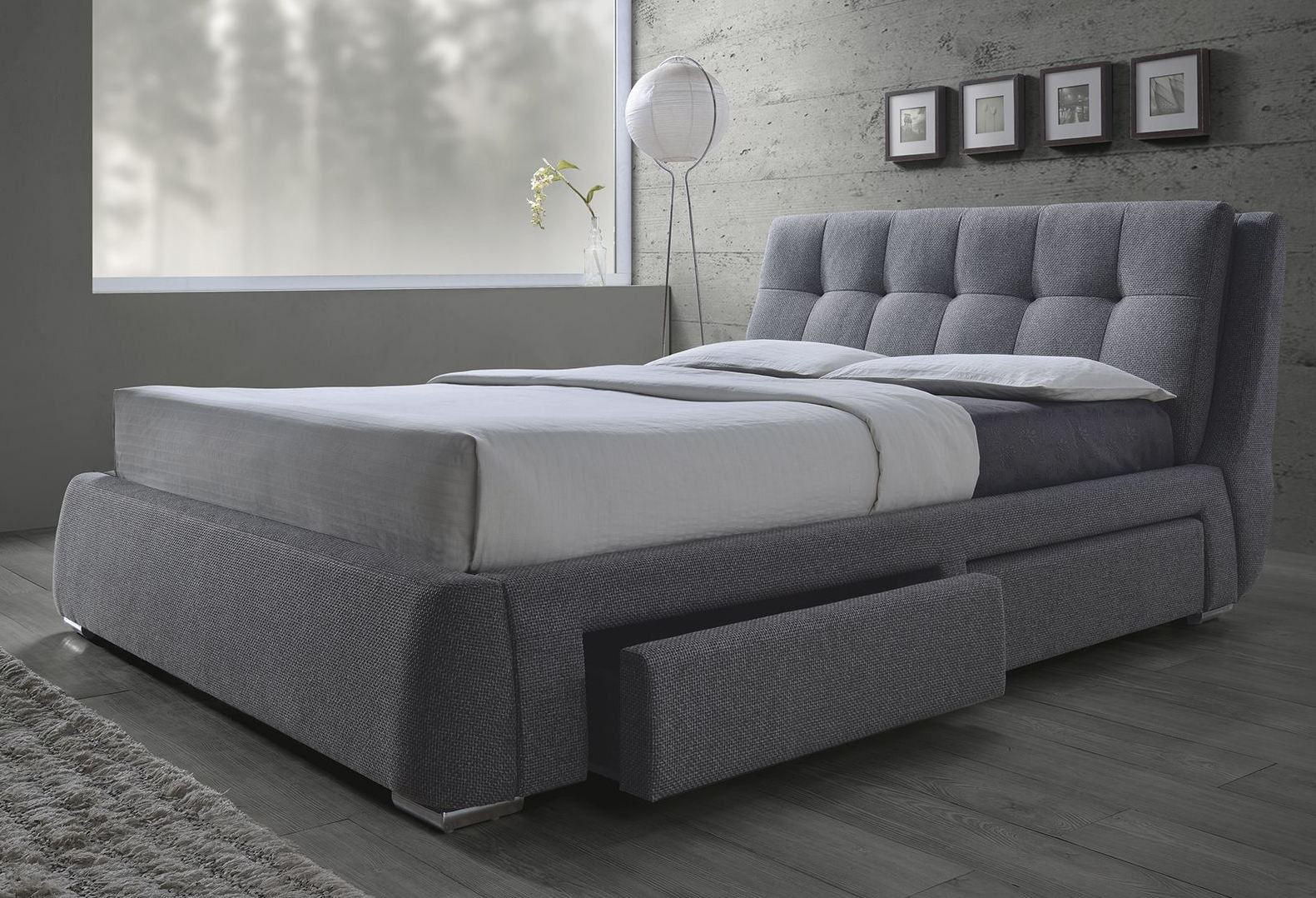 Fenbbrook gray queen platform storage bed 300523q for Pedestal bed