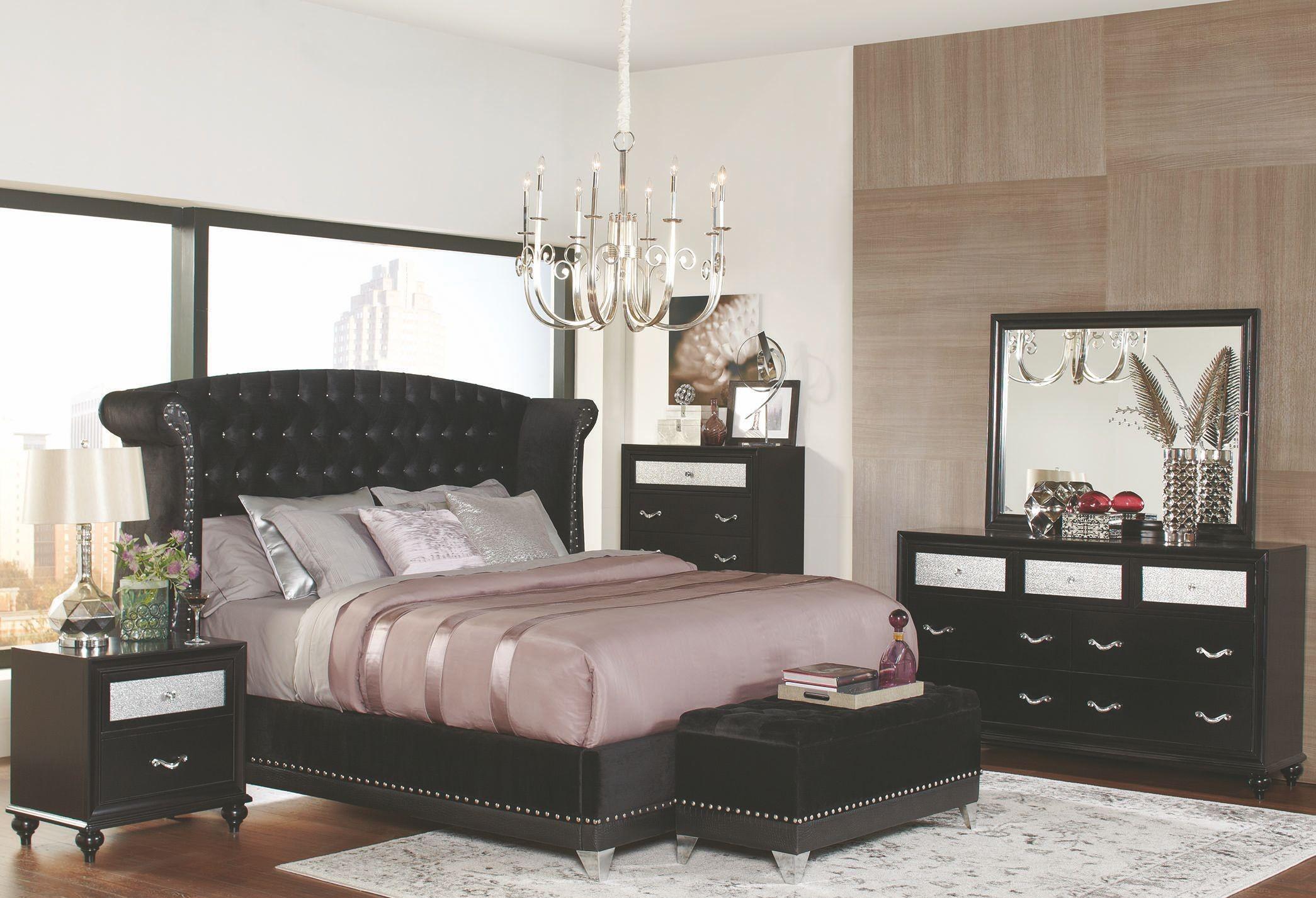 Barzini Black Upholstered Queen Upholstered Platform Bed ...