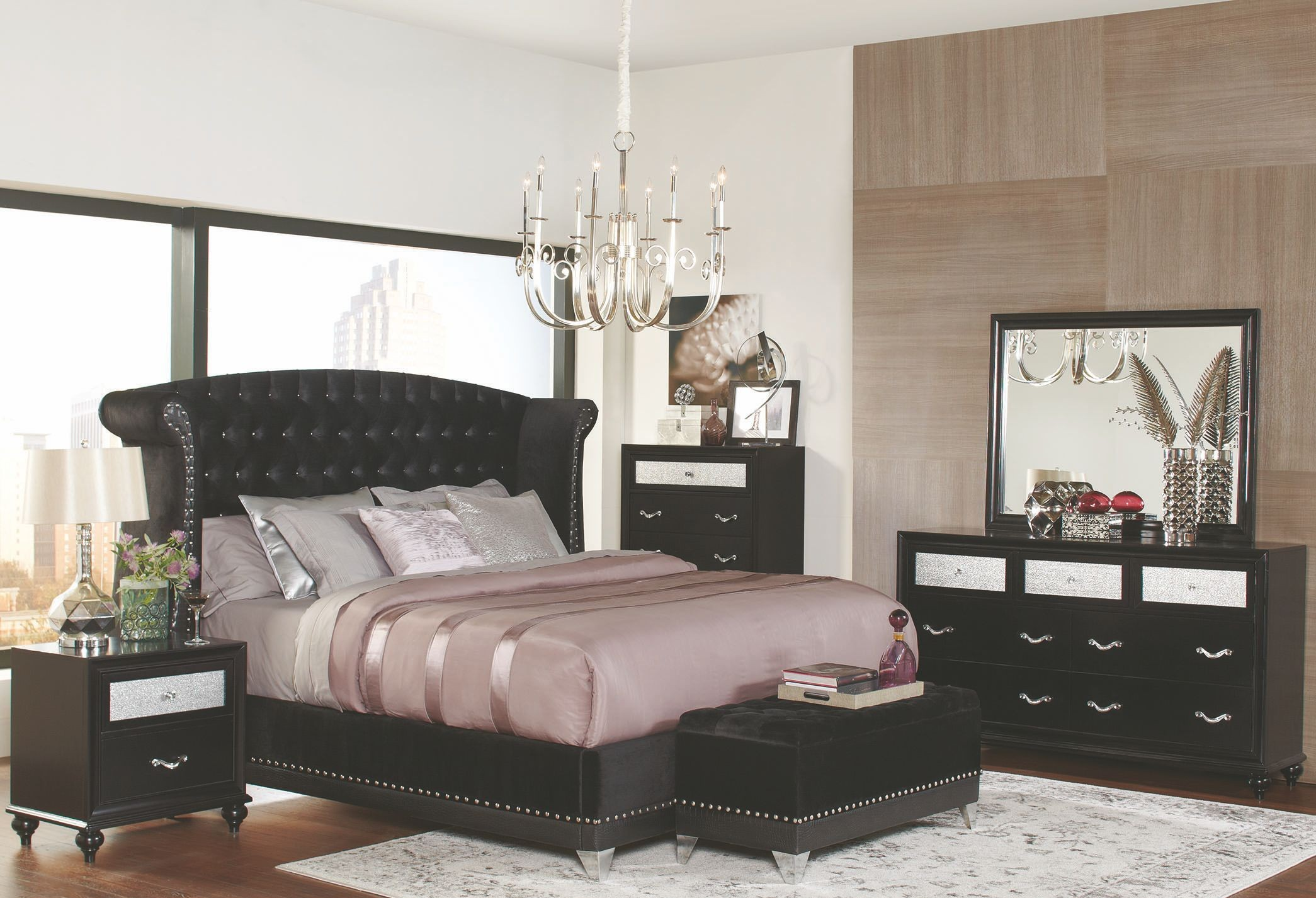 Barzini black upholstered upholstered platform bedroom set for Platform bedroom sets