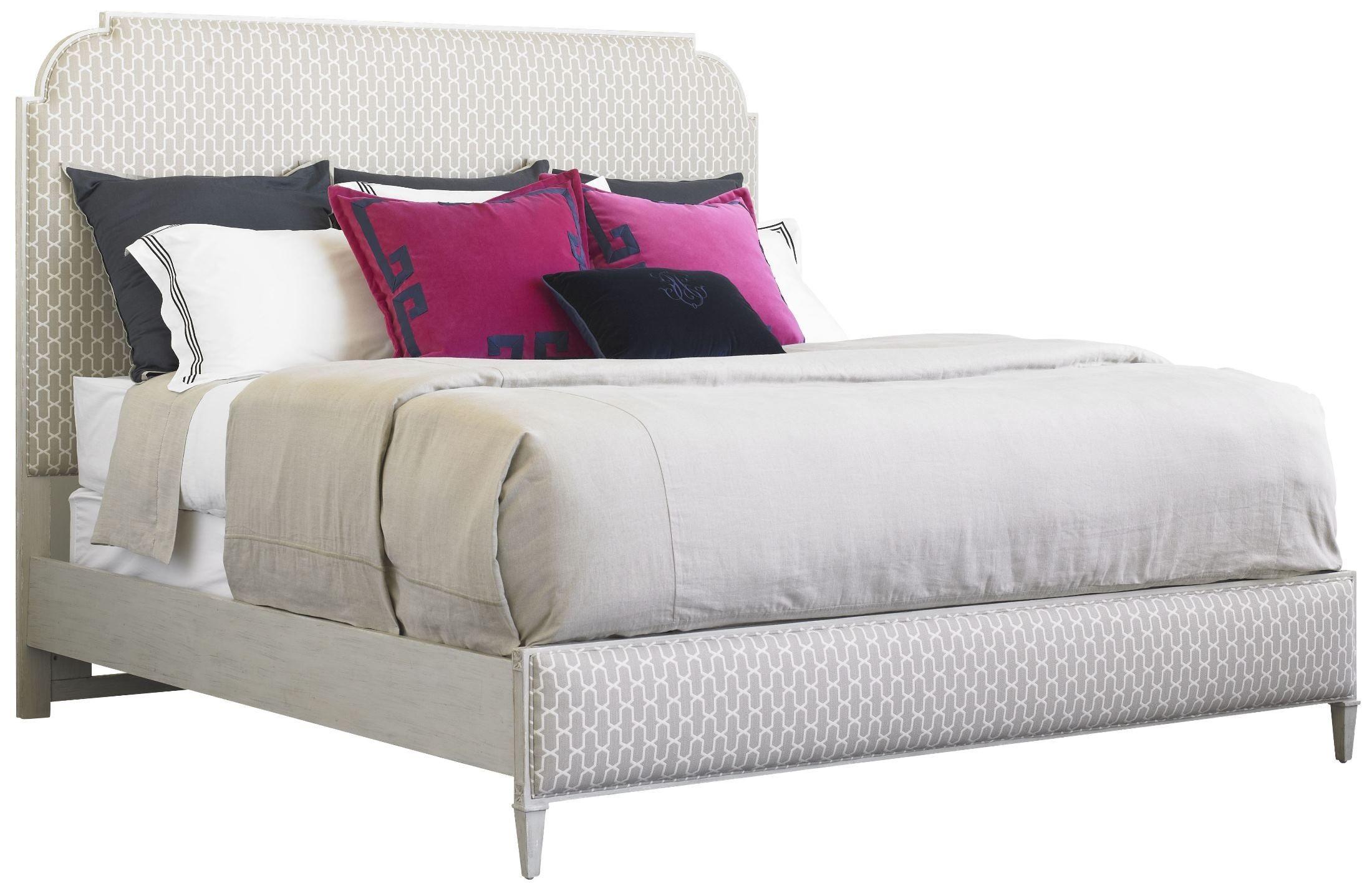 Charleston Regency Gray Linen Peninsula Upholstered Bedroom Set From Stanley 302 53 42