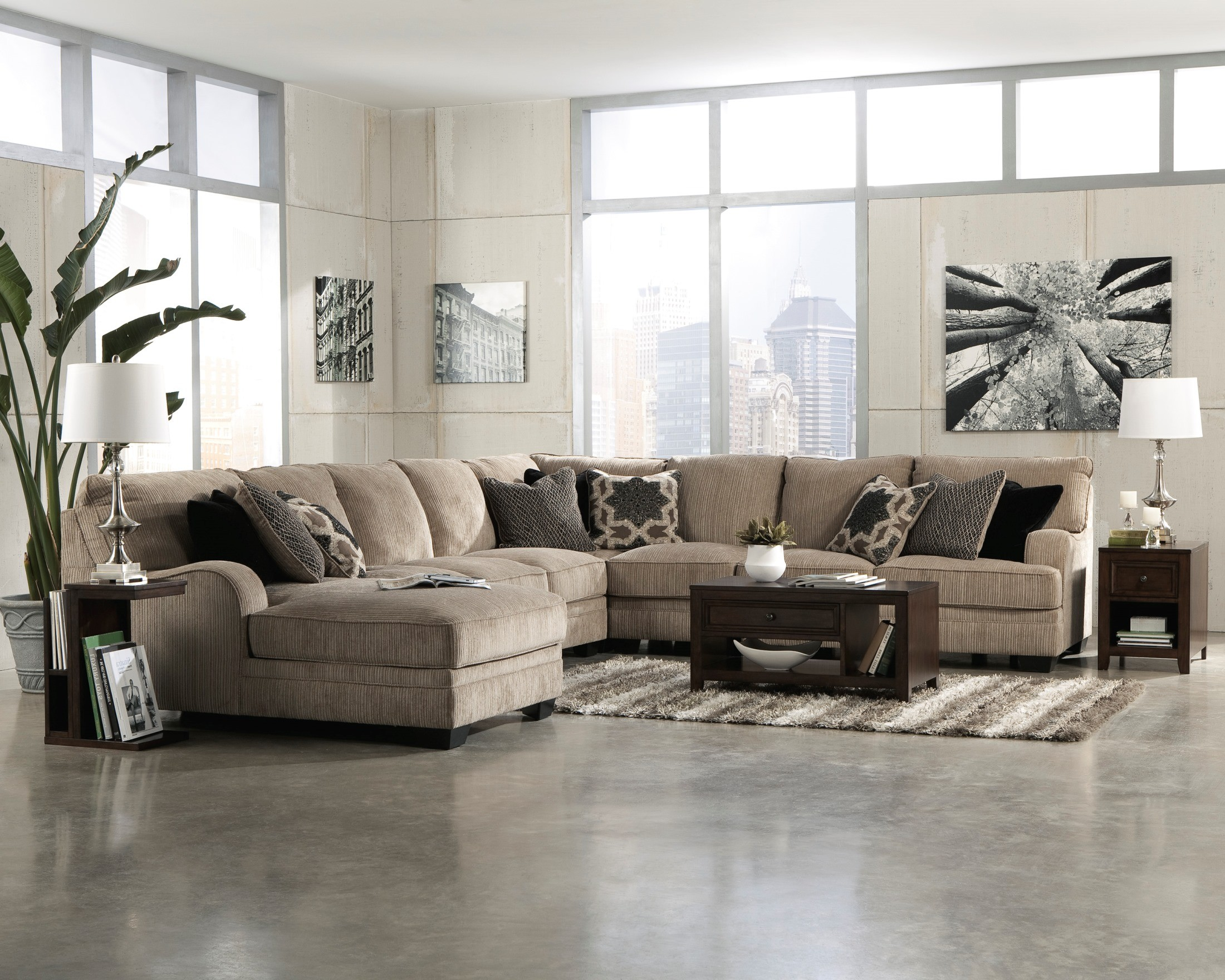 Katisha Platinum Laf Chaise Sectional 30500 Ashley Furniture
