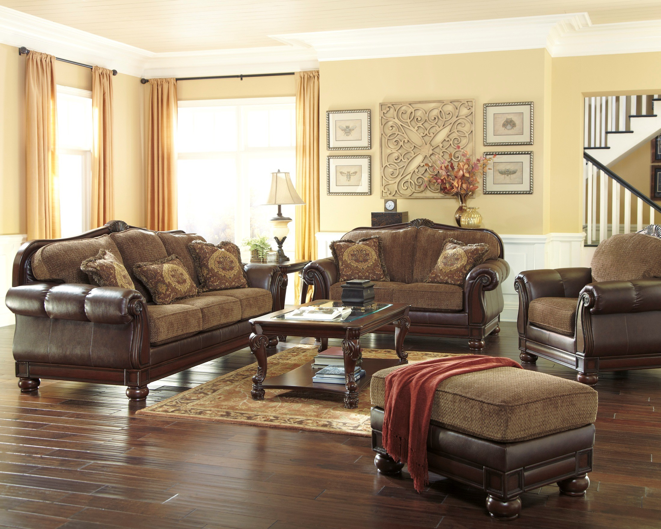 beamerton heights chestnut living room set 30605 38 35 ashley furniture. Black Bedroom Furniture Sets. Home Design Ideas