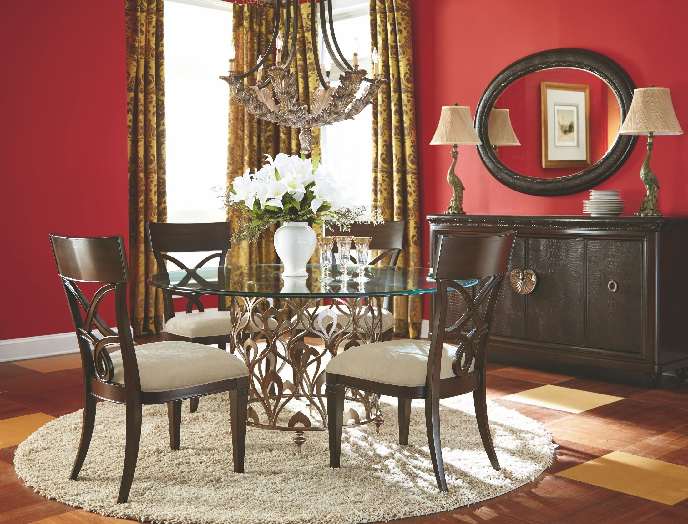 bob mackie home mink round dining room set 308 702r american drew