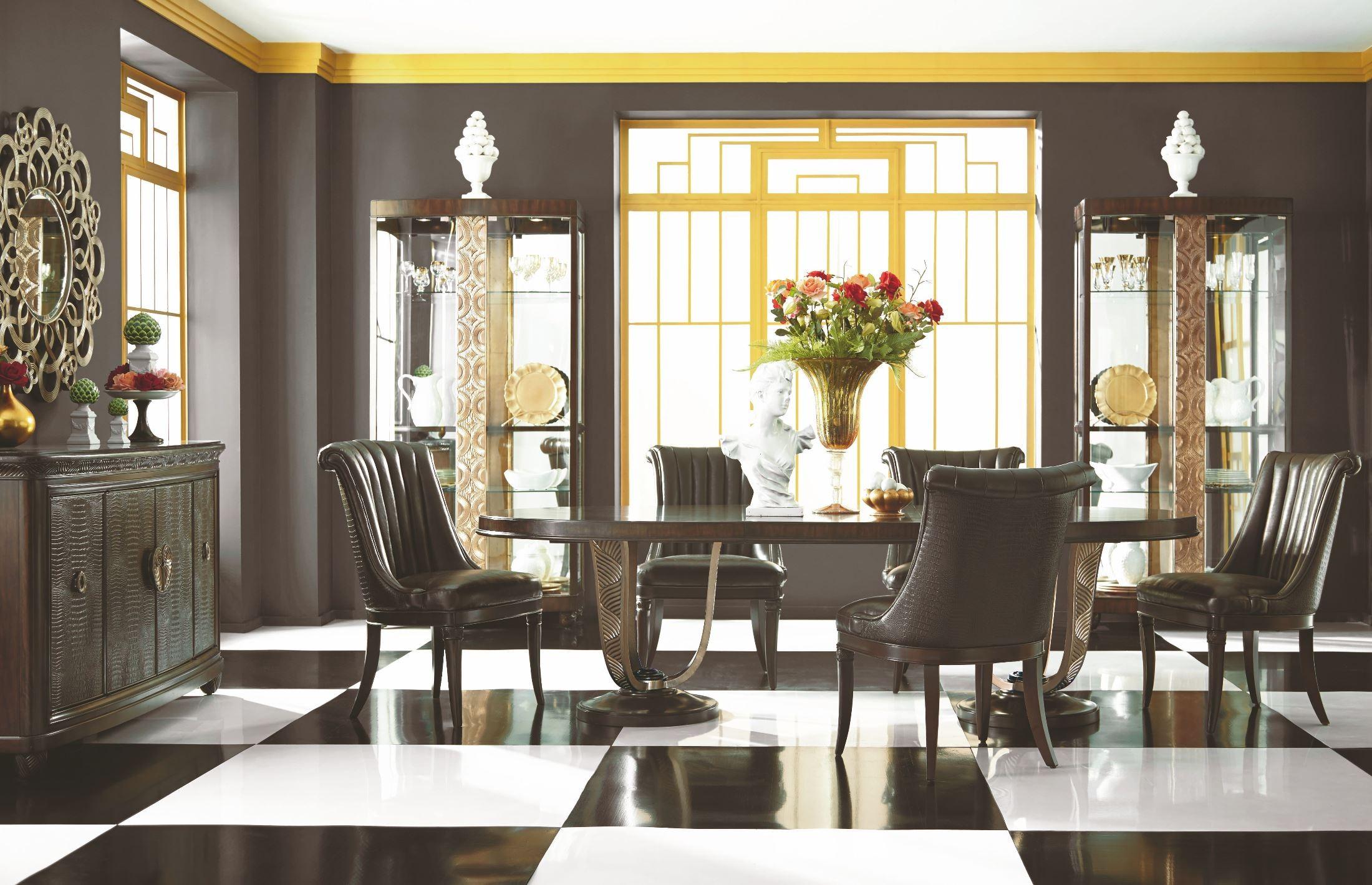 bob mackie home mink double pedestal dining room set 308 745r