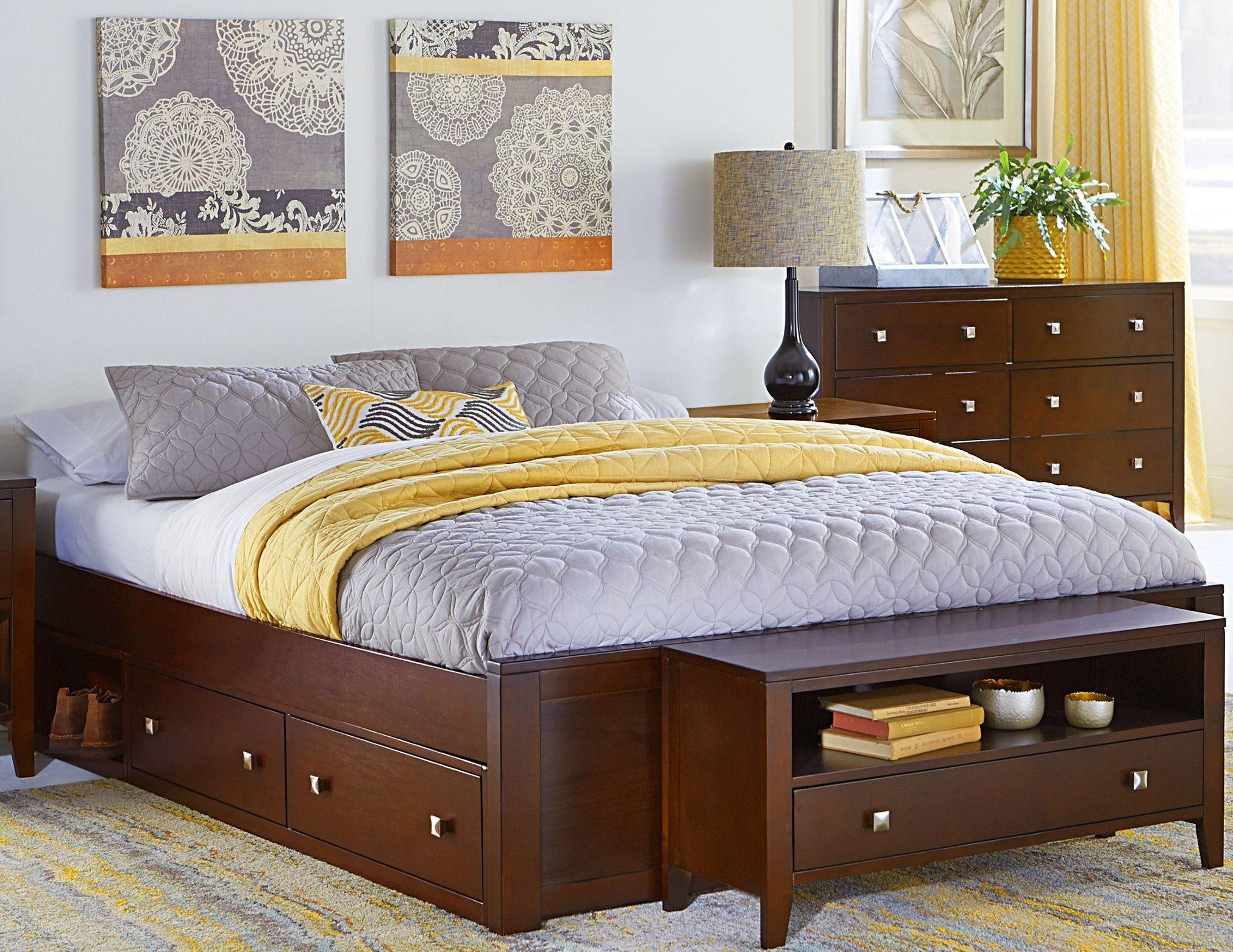 pulse cherry queen platform bed with storage 31003ns ne kids. Black Bedroom Furniture Sets. Home Design Ideas