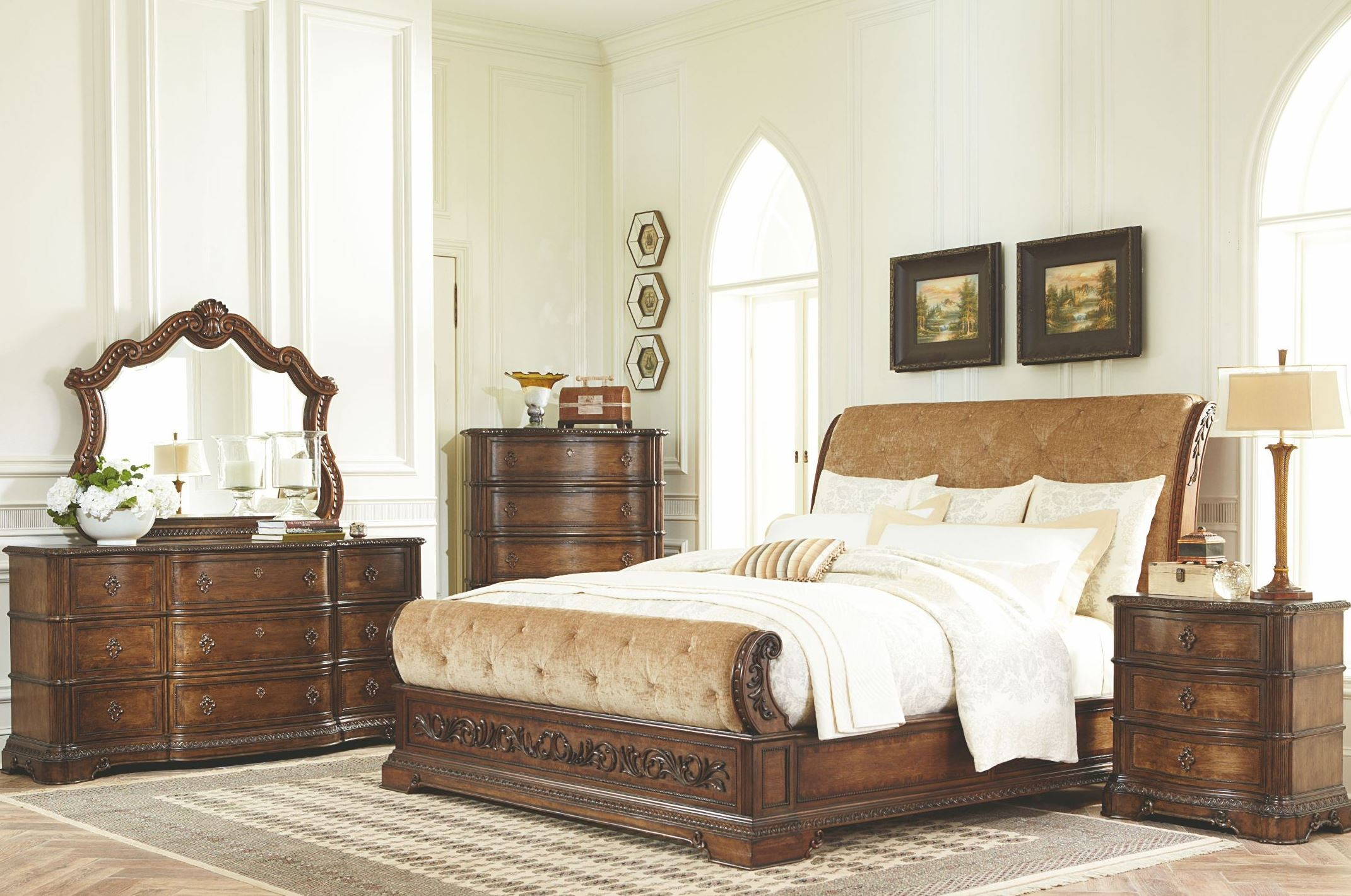 Pemberleigh upholstered sleigh bedroom set from legacy classic 3100 4305k coleman furniture for Upholstered sleigh bedroom set