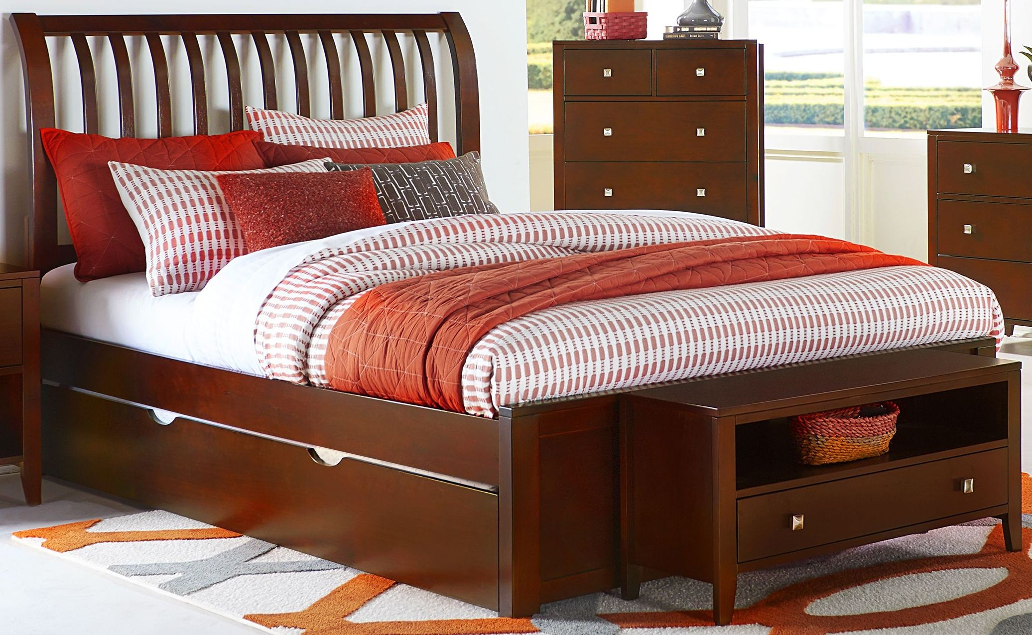 Pulse Cherry Queen Rake Sleigh Bed With Trundle 31033nt