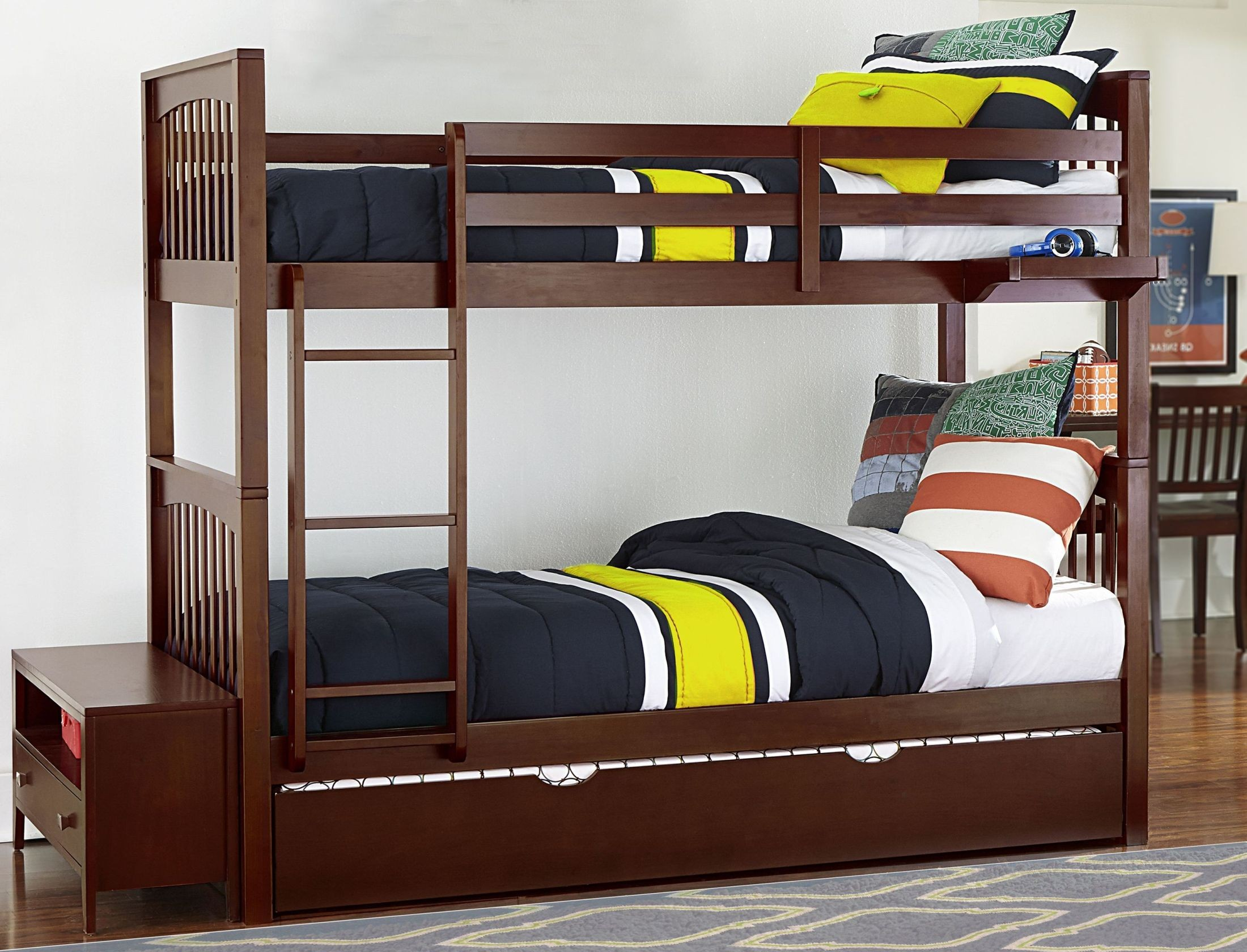 Pulse Cherry Twin Over Twin Bunk Bed With Trundle 31040nt