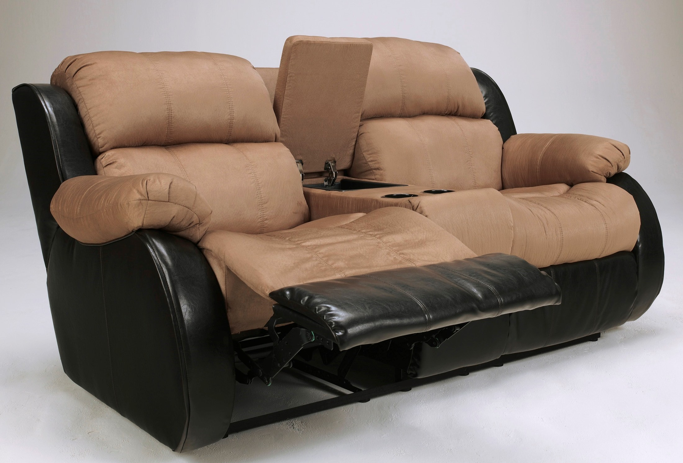 Presley Cocoa Double Reclining Loveseat With Console
