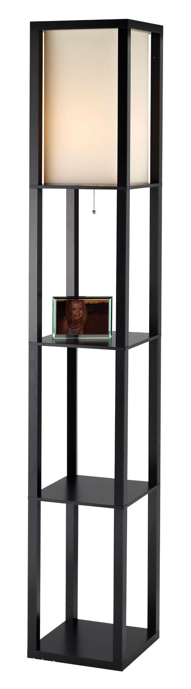 Titan black tall shelf floor lamp from adesso 3193 01 for Floor lamp with shelves