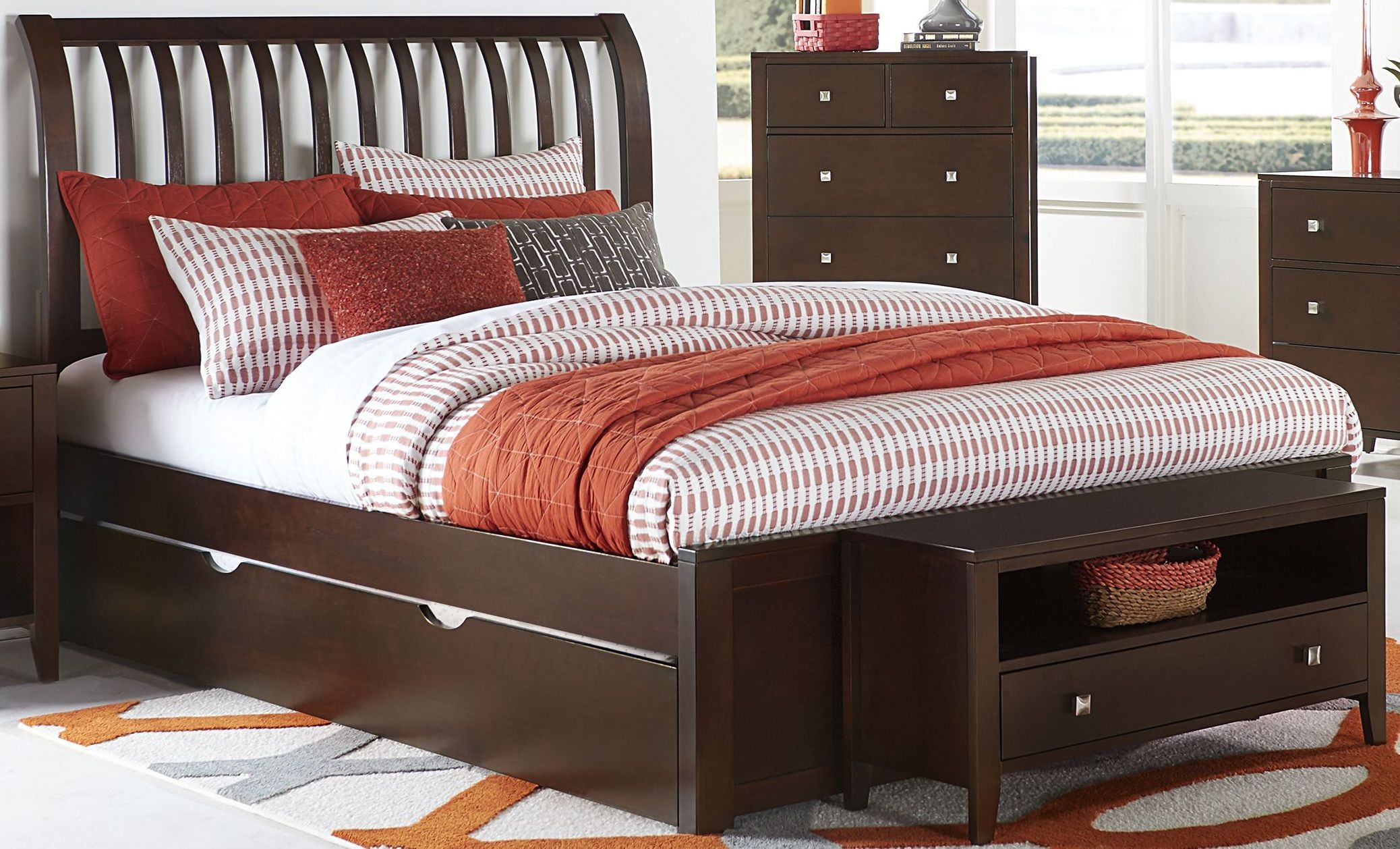 pulse chocolate rake king sleigh bed with trundle 32034nt