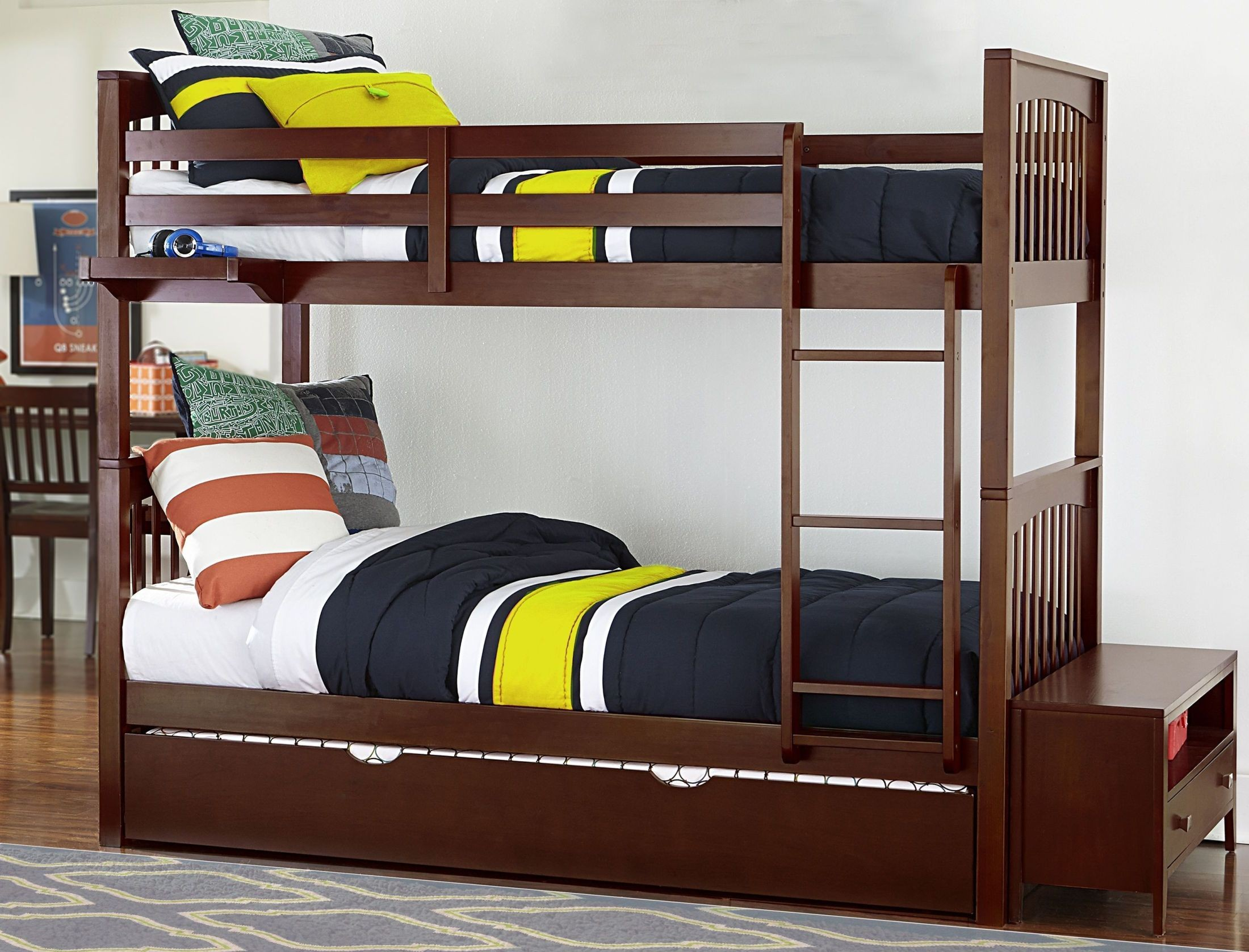 Pulse Chocolate Twin Over Twin Bunk Bed With Trundle
