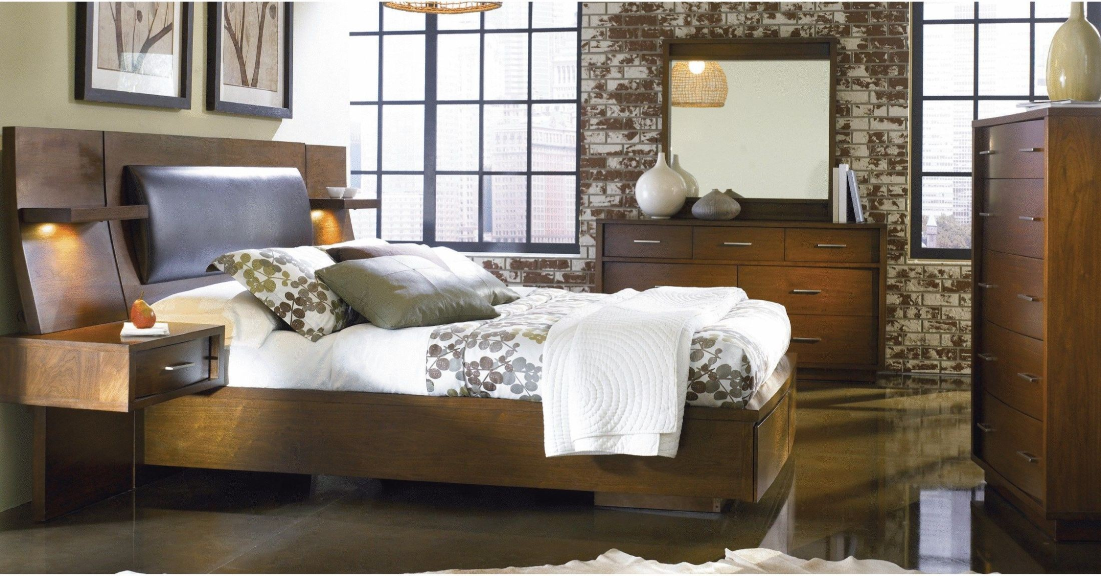 Sydney brown panel bedroom set with extension nightstand for Bedroom furniture sydney