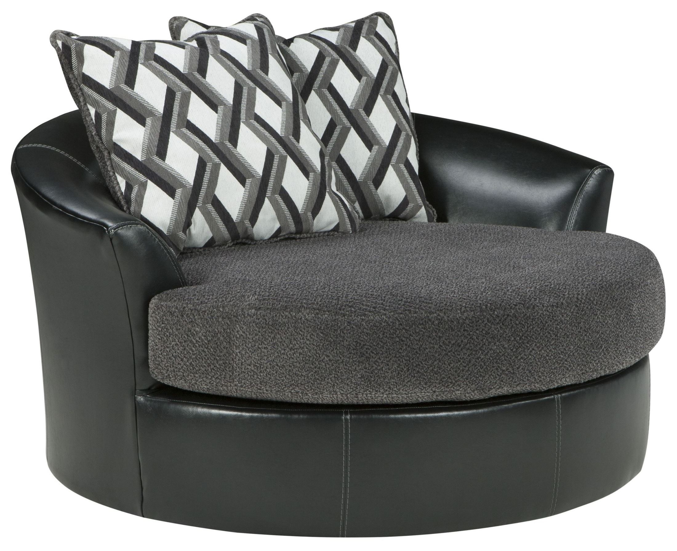 Kumasi Smoke Oversized Swivel Accent Chair Ashley