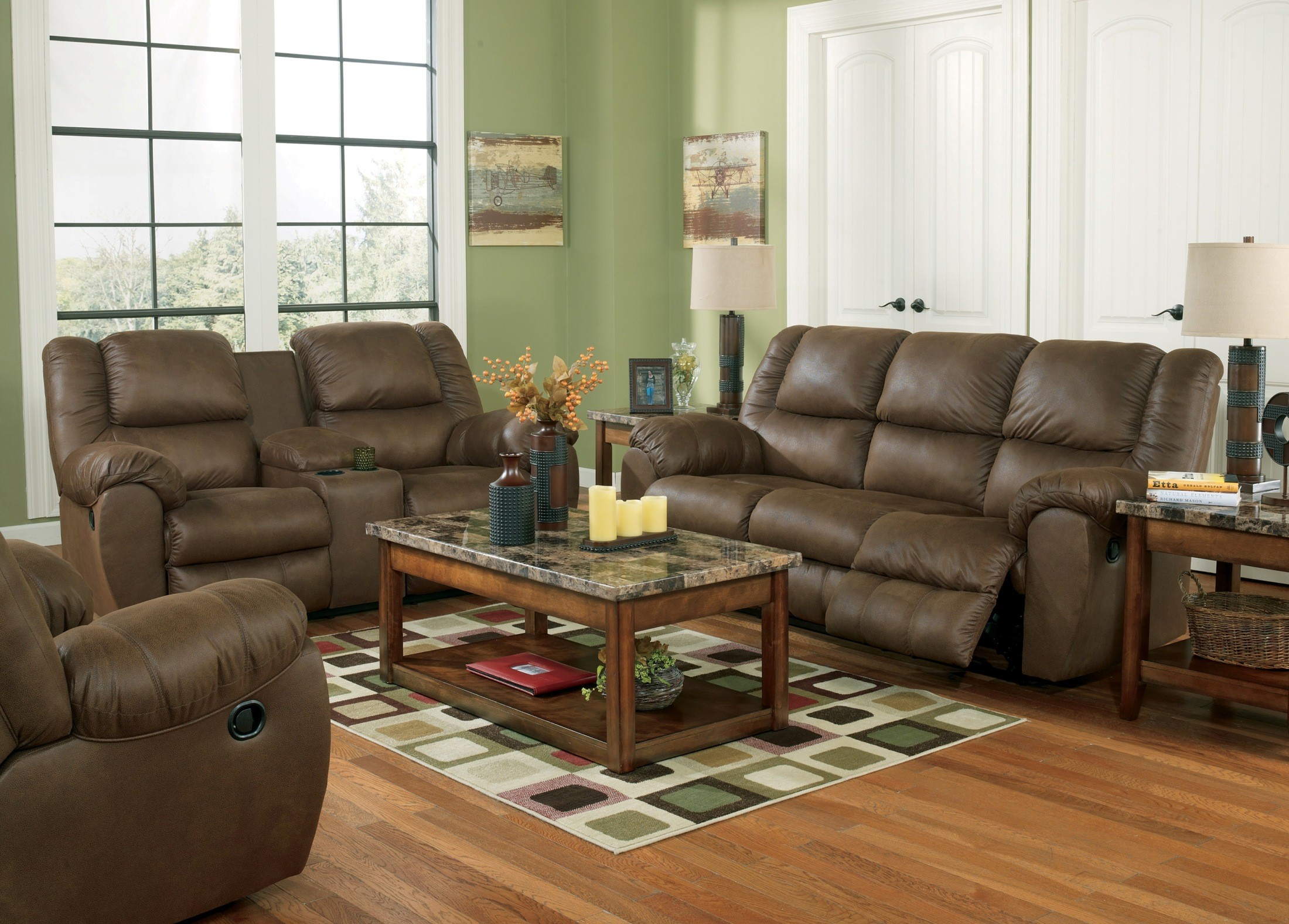 Quarterback Canyon Reclining Loveseat With Console From